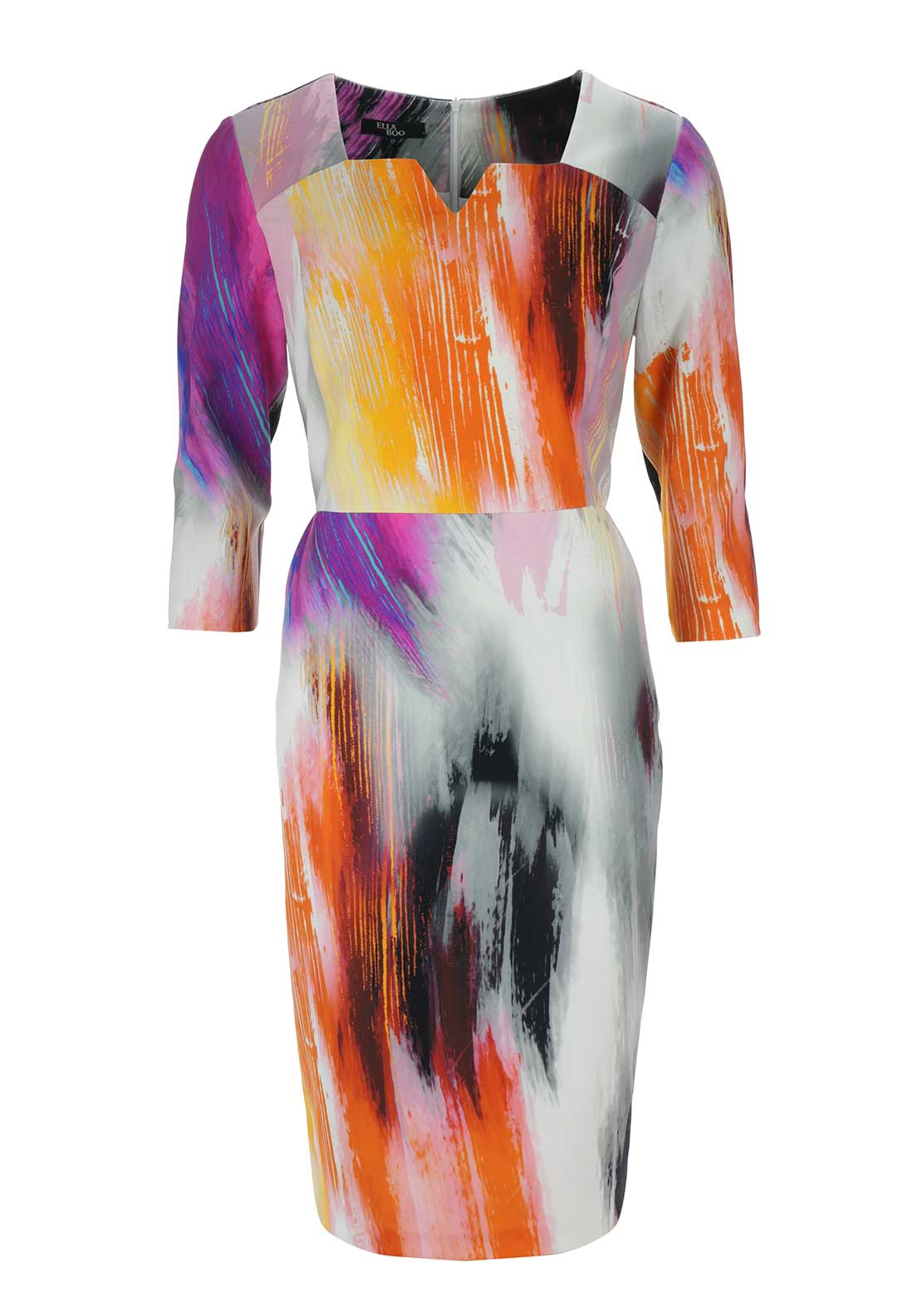 Ella Boo Brushstroke Print Pencil Dress, Multi-Coloured