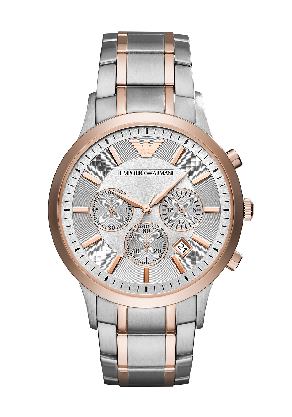 Emporio Armani Silver and Rose Gold Two-Toned Watch