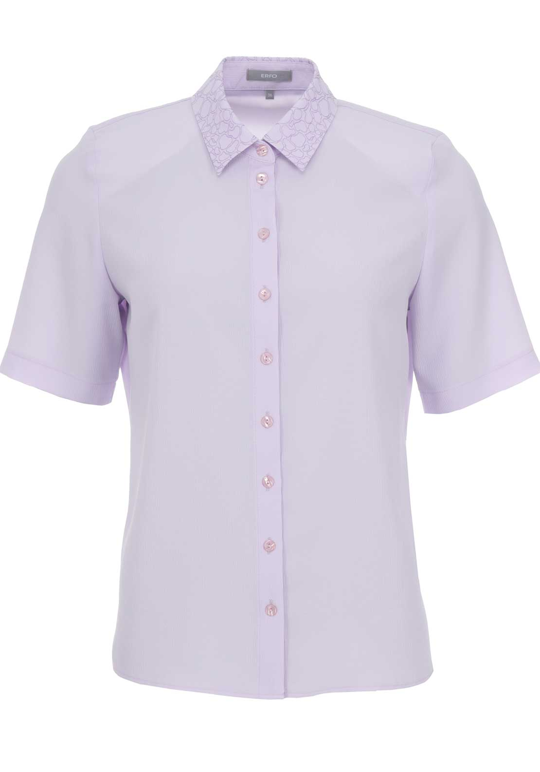 ERFO Embroidered Trim Short Sleeve Blouse, Lilac