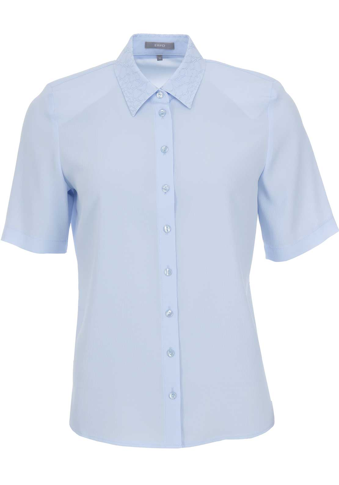 ERFO Embroidered Trim Short Sleeve Blouse, Blue