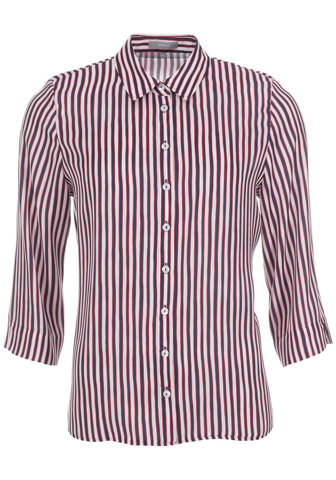 ERFO Striped Cropped Sleeve Blouse, Navy Multi