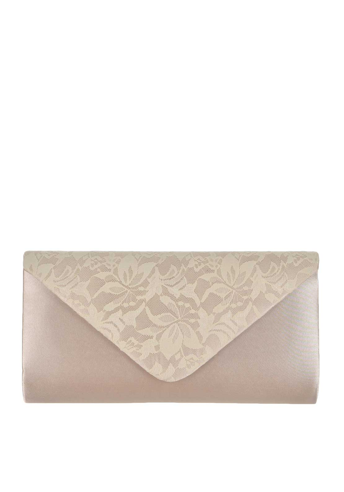 Glamour Satin Lace Envelope Clutch Bag, Nude