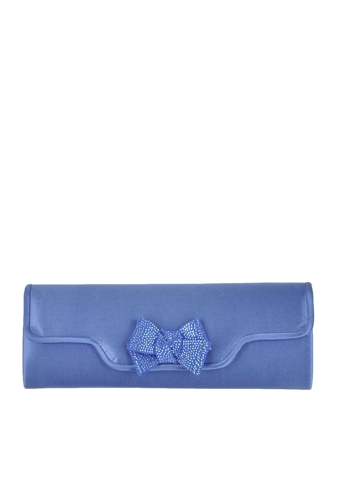 Glamour Satin Embellished Bow Envelope Clutch Bag, Blue