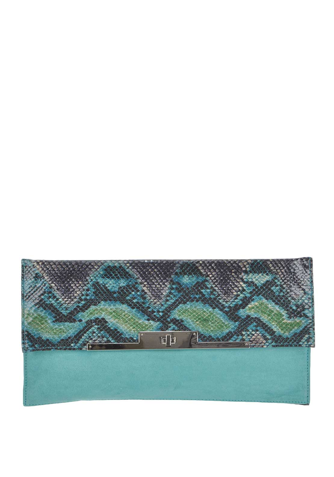 Glamour Reptile Print Clutch Bag, Green