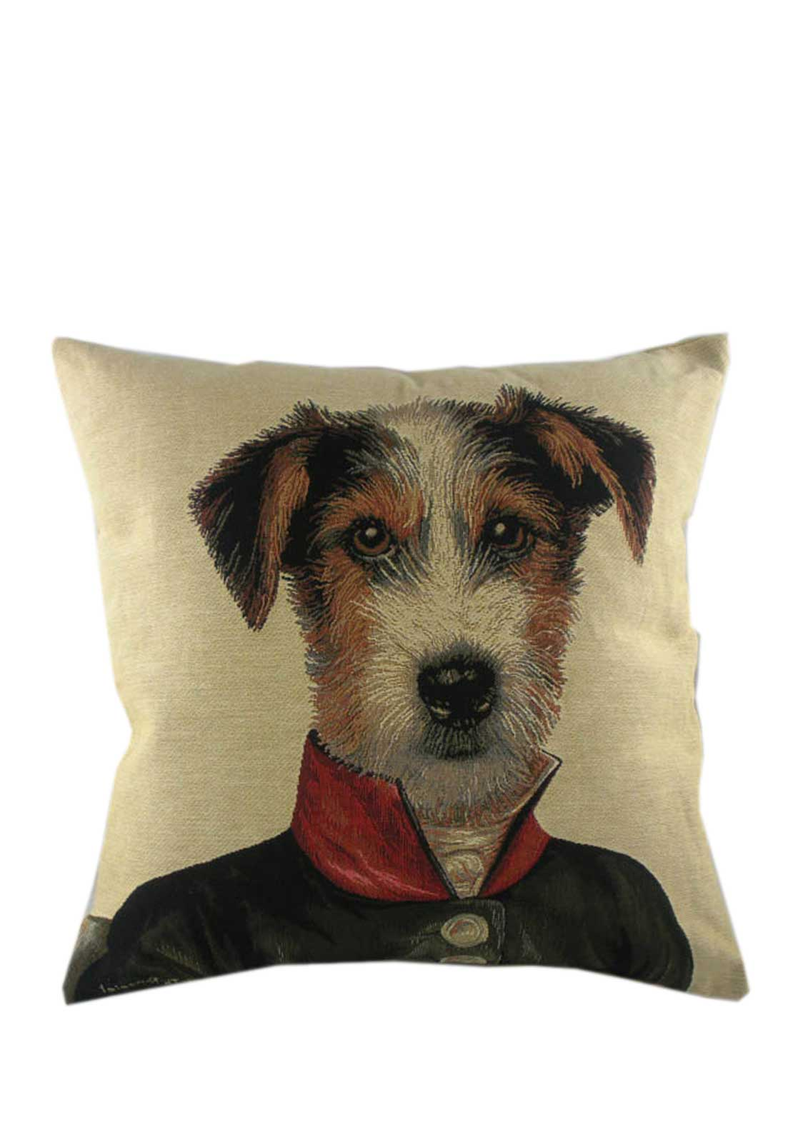 Ambassador Cushion, 45 x 45cm, Jack Russell with scarf