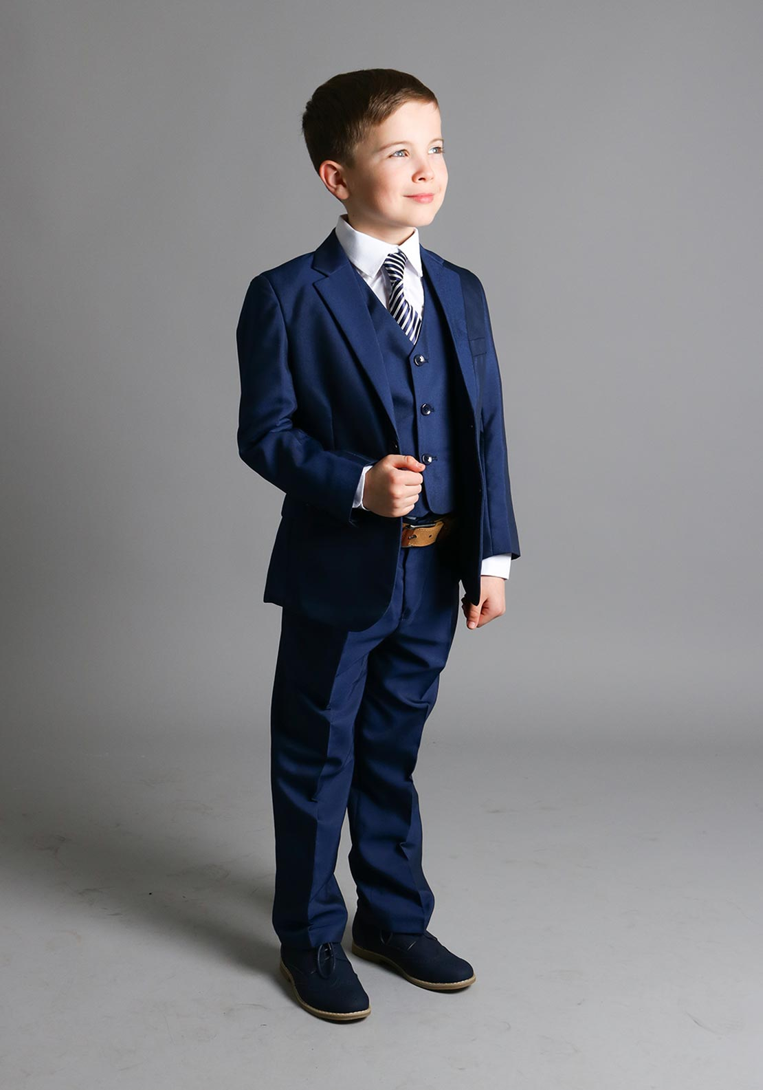 McElhinneys 3 Piece Navy Boys Suit with Free Shirt and Tie