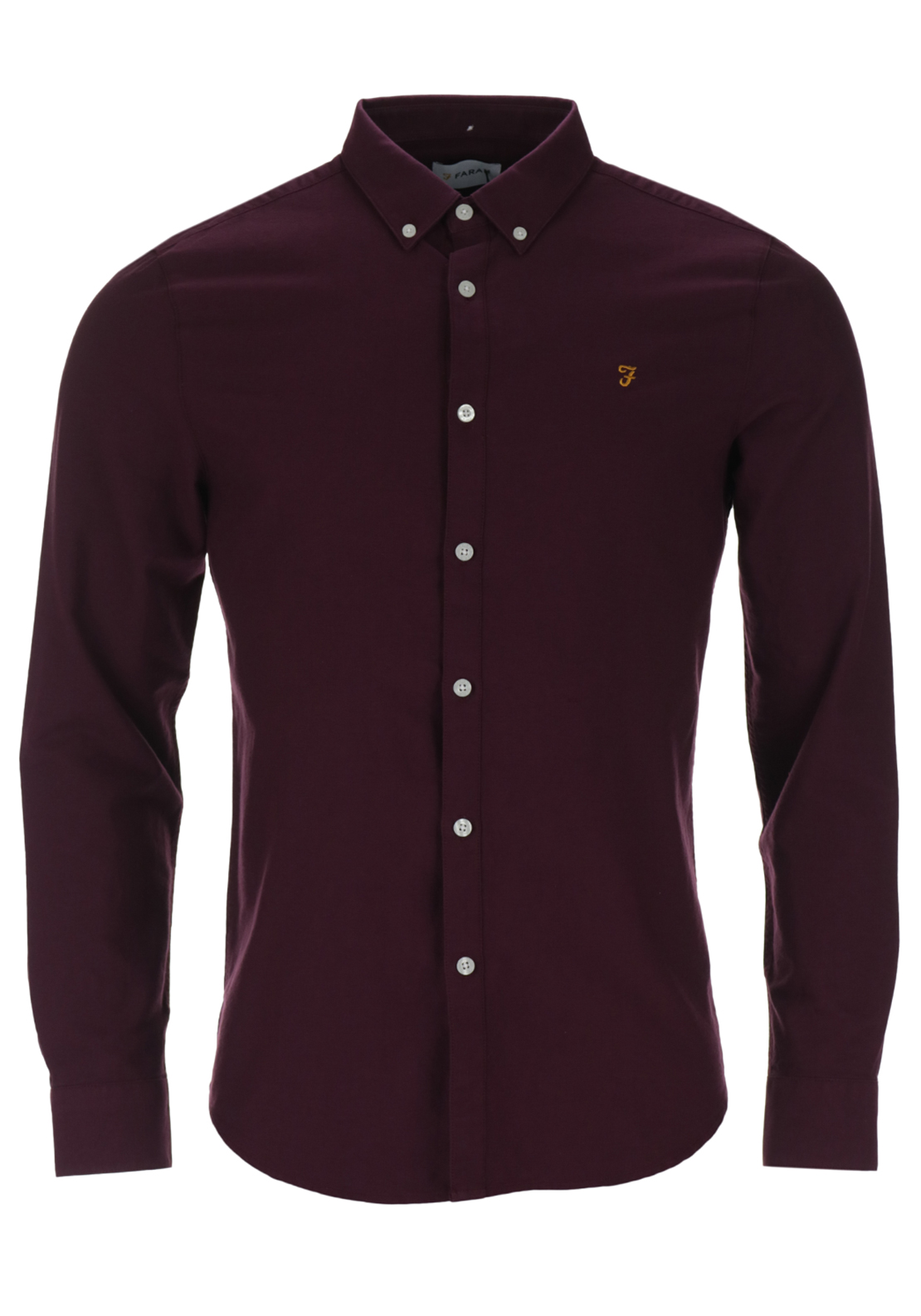 Farah Vintage Mens Brewer Long Sleeved Oxford Shirt, Bordeaux