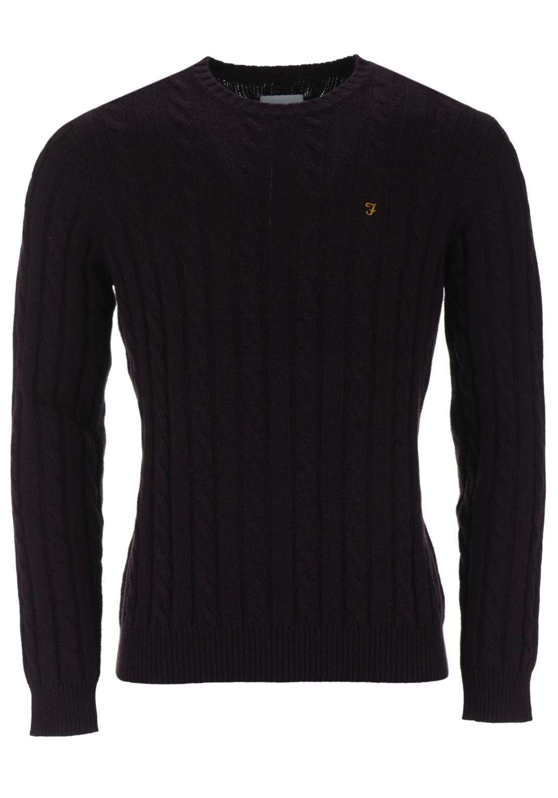 Farah Vintage Mens Norfolk Cable Crew Neck Knit, Bordeaux