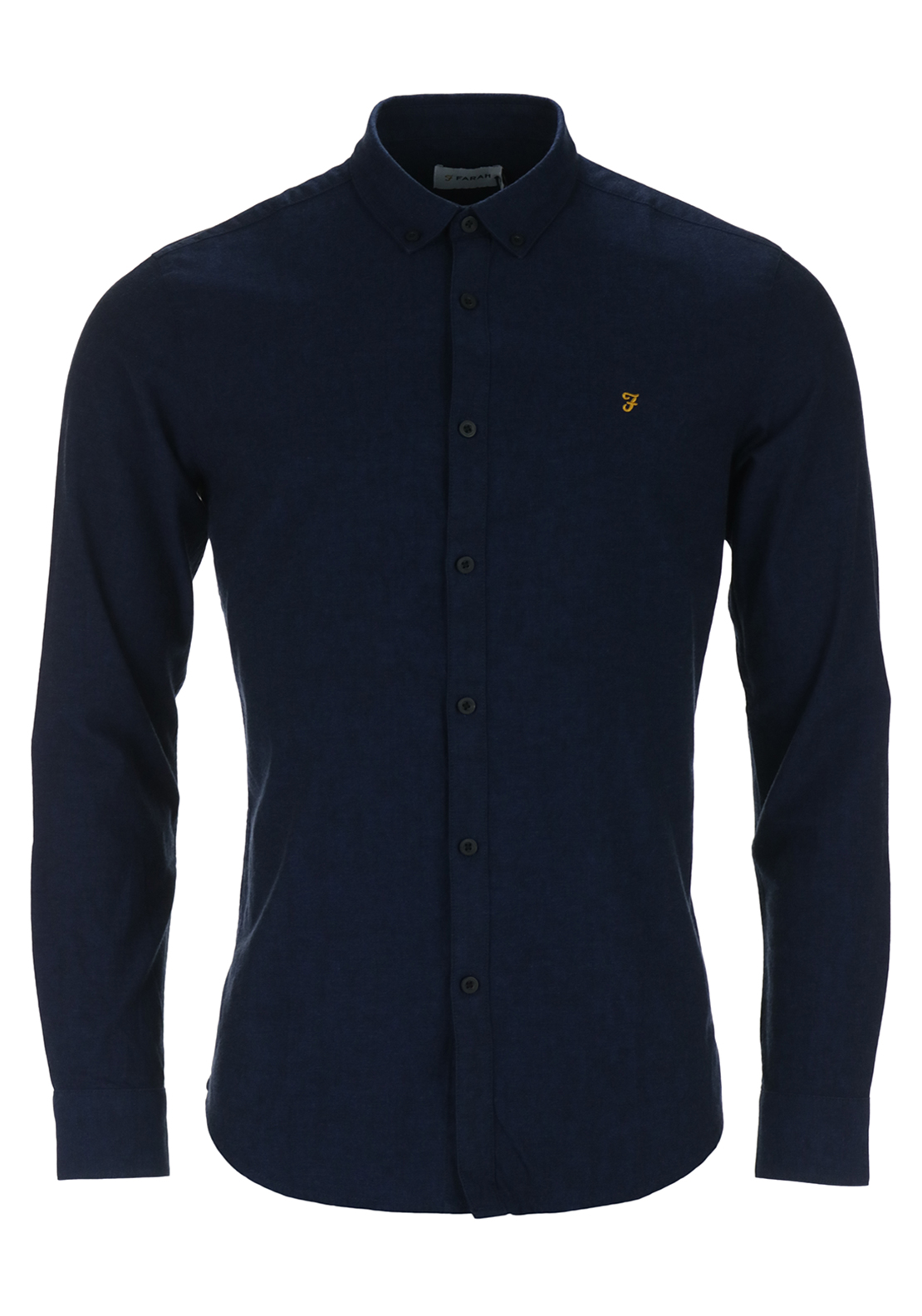 Farah Vintage Mens Brewer Long Sleeved Oxford Shirt, True Blue