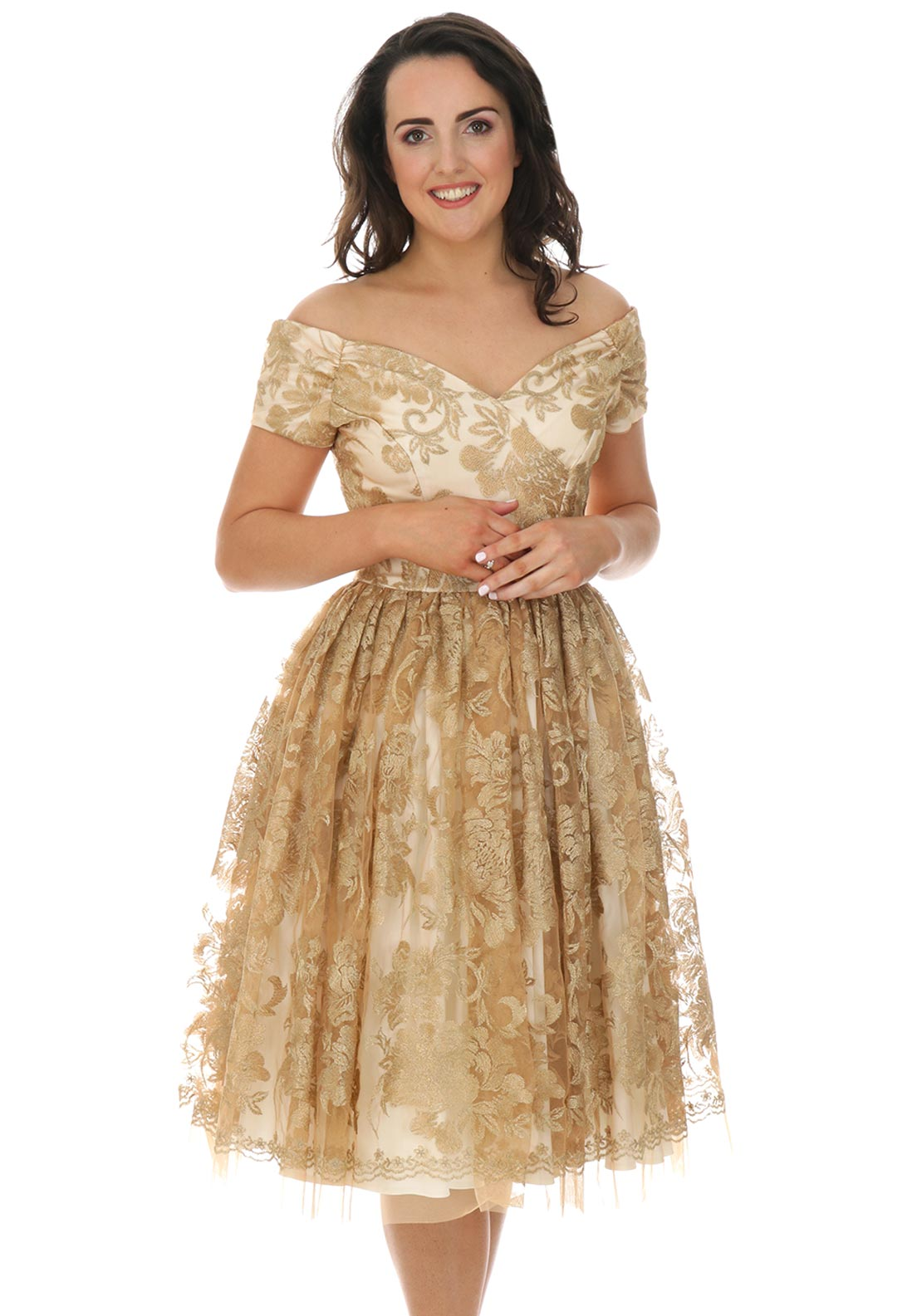 The Pretty Dress Company Fatale Bardot Prom Dress, Gold