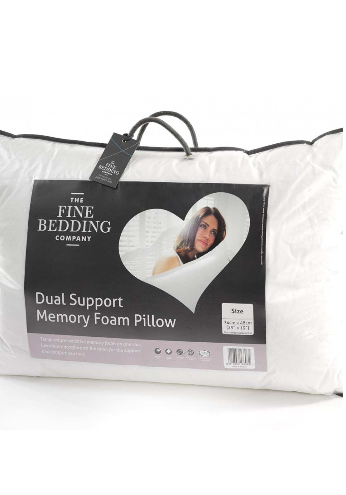 The Fine Bedding Company Dual Support Memory Foam Pillow, 74 x 48cm