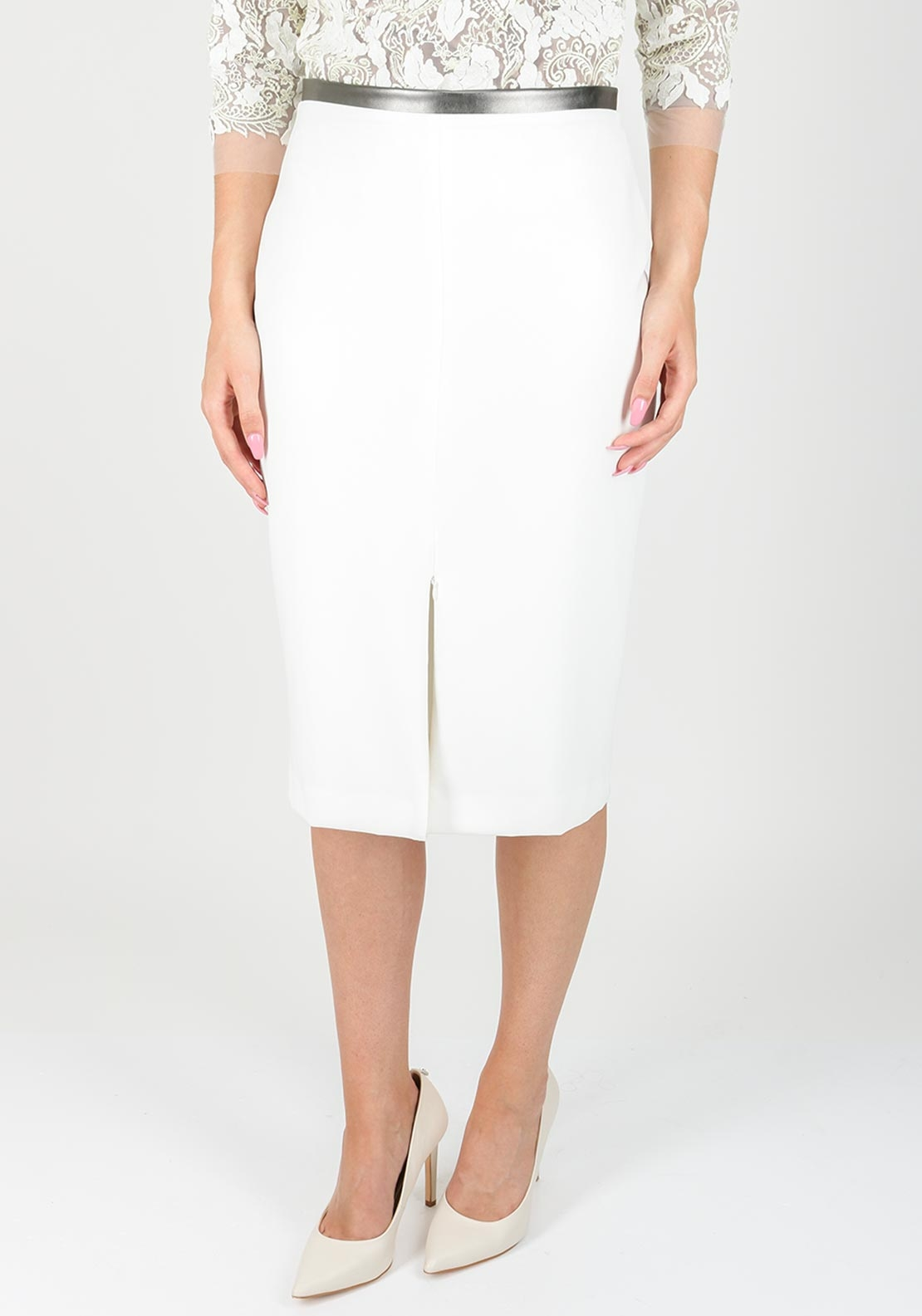 Fee G Faux Leather Trim Crepe Pencil Skirt, Ivory