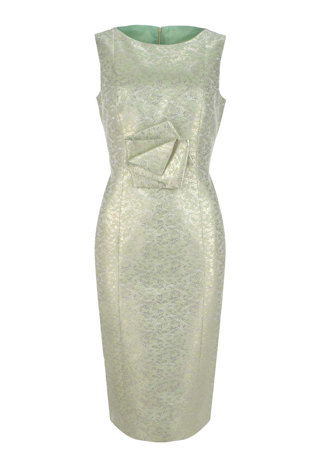 Fely Campo Metallic Sleeveless Pencil Dress, Mint Green