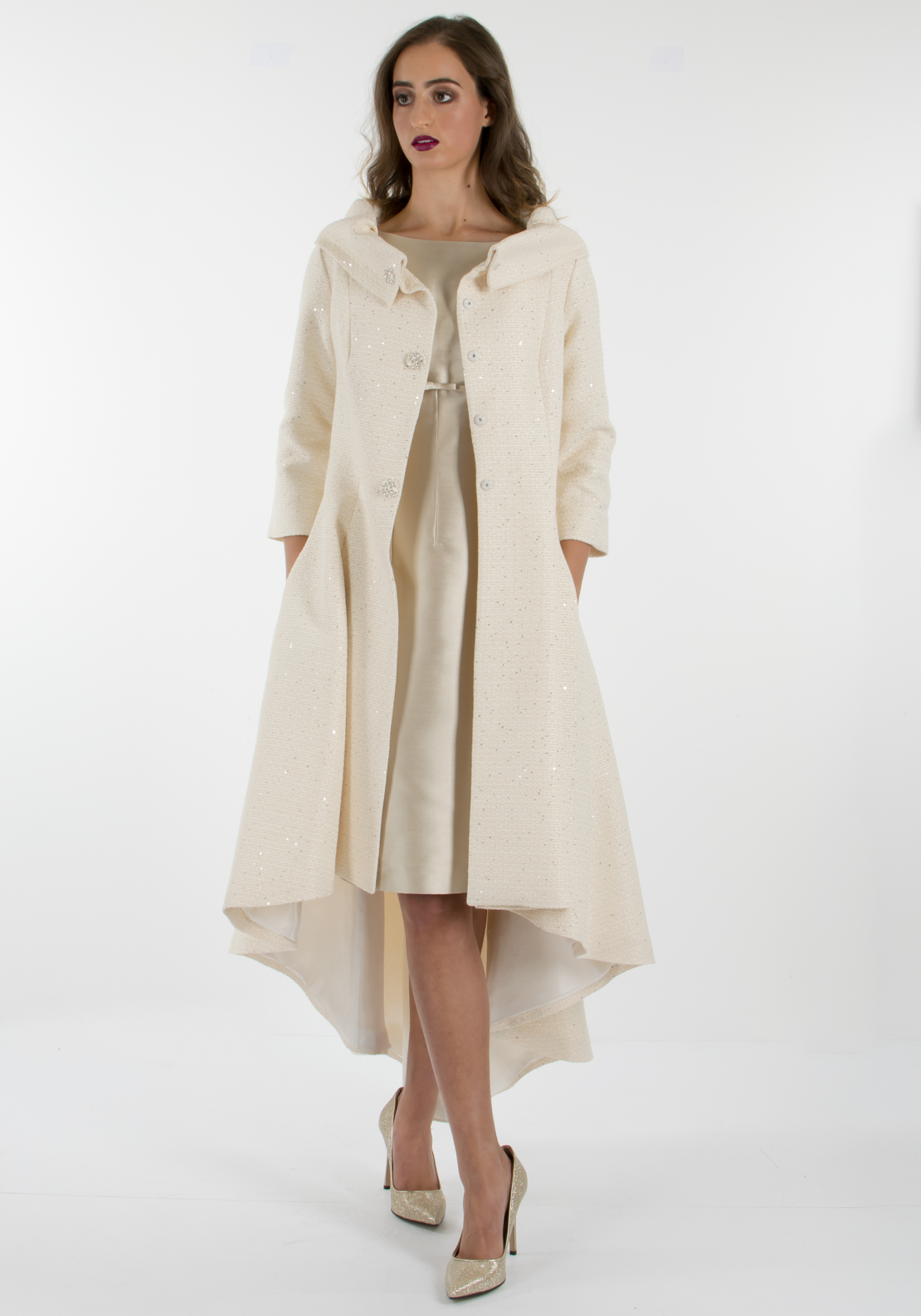 Fely Campo Silk Dress & Coat Outfit, Cream