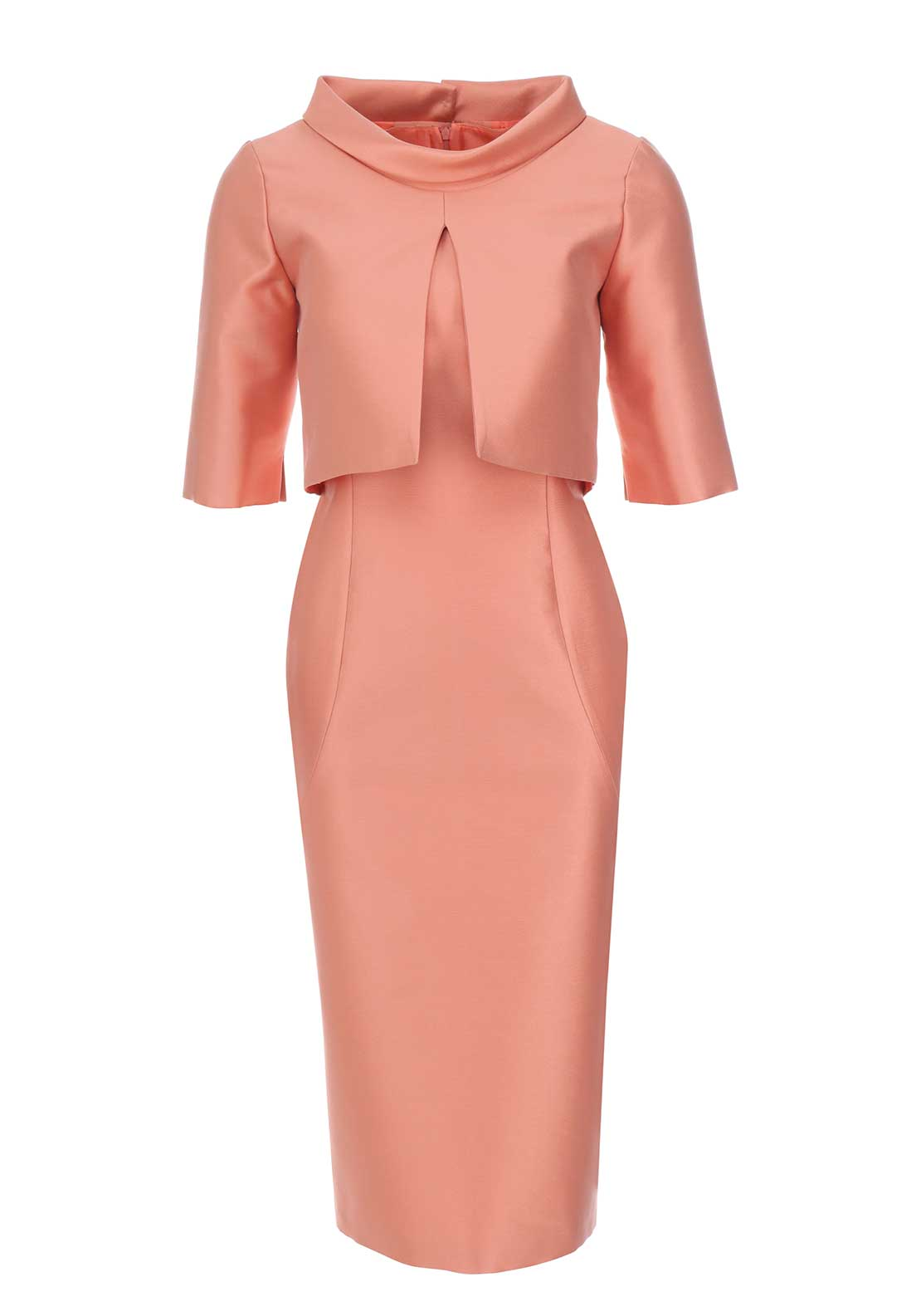 Fely Campo Silk Pencil Dress & Bolero Jacket, Deep Peach