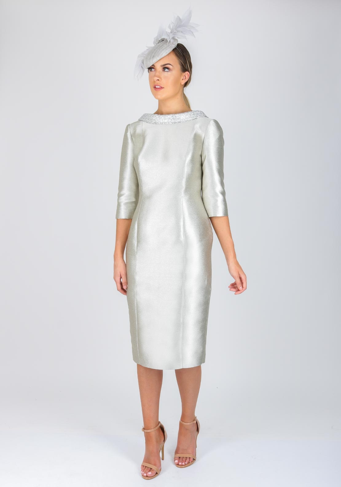 Fely Campo Embellished Collar Pencil Dress, Silver