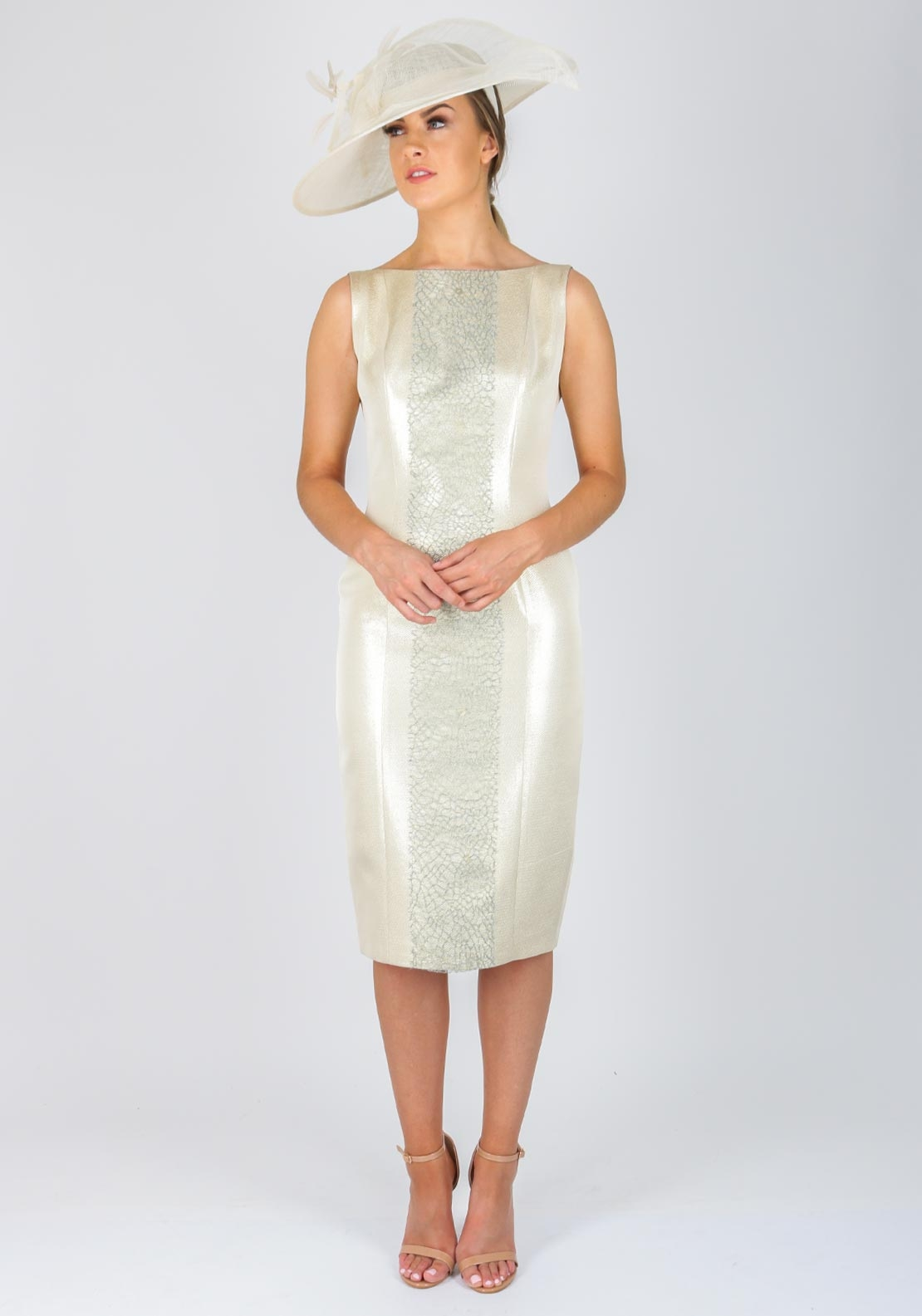 Fely Campo Lace Panel Metallic Silk Dress, Gold
