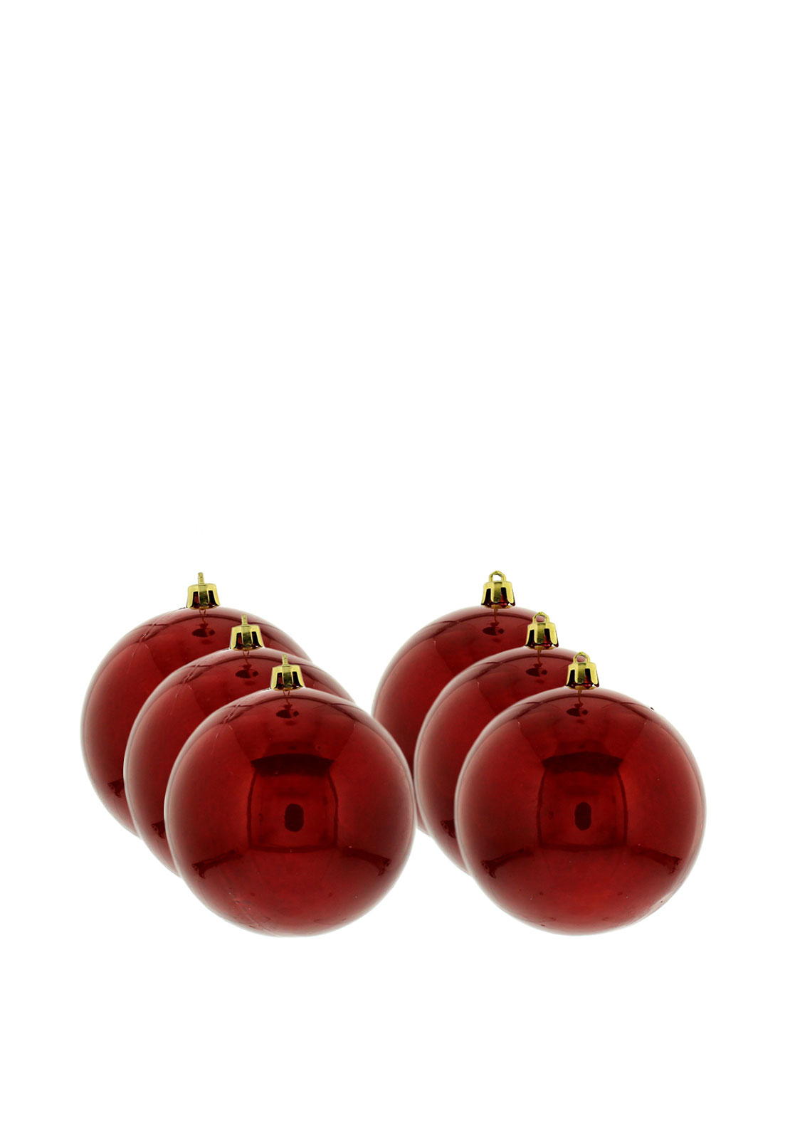 Festive Pack of 6 Medium Baubles, Red