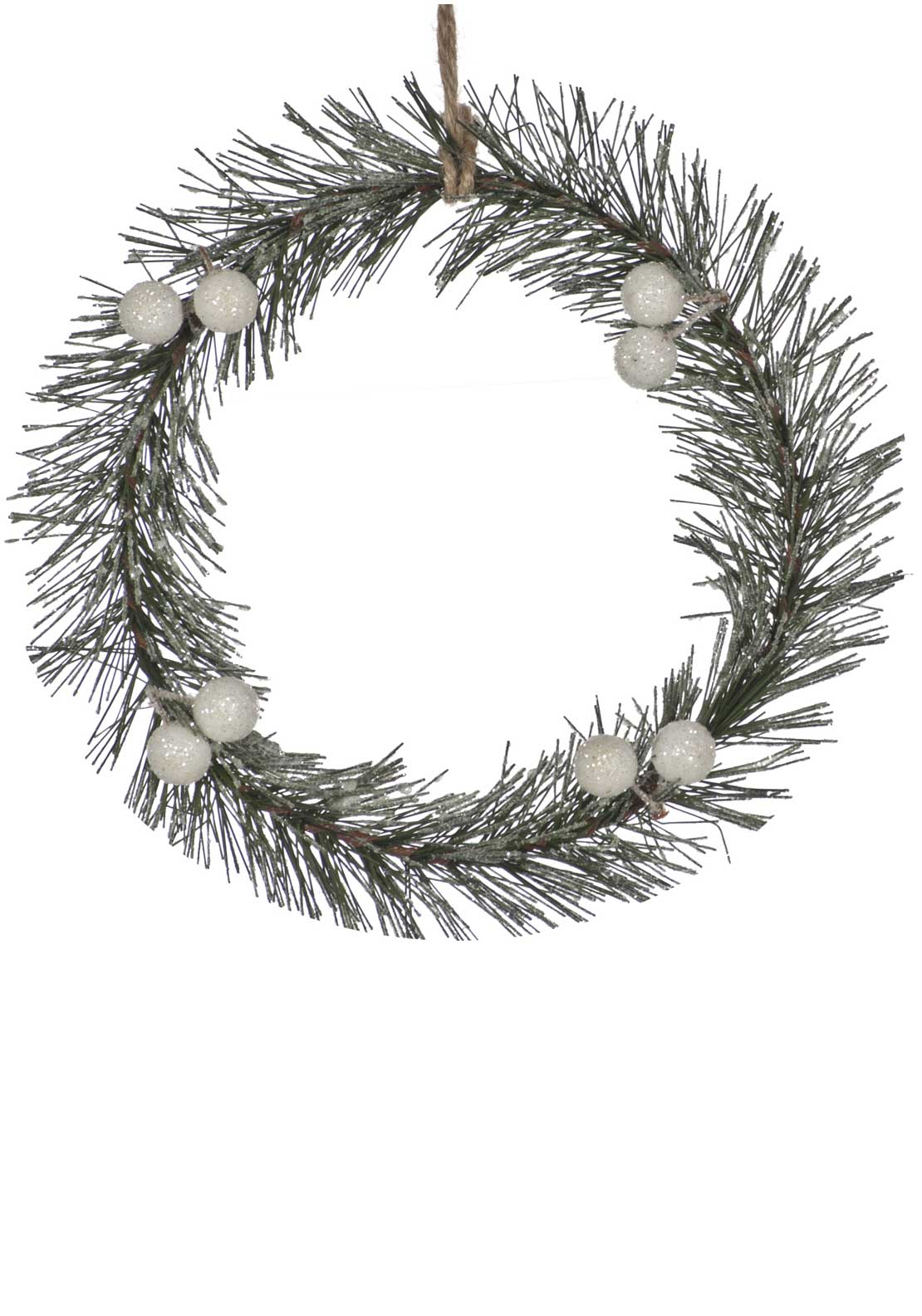 Festive Frosted Wreath Tree Decoration, Green