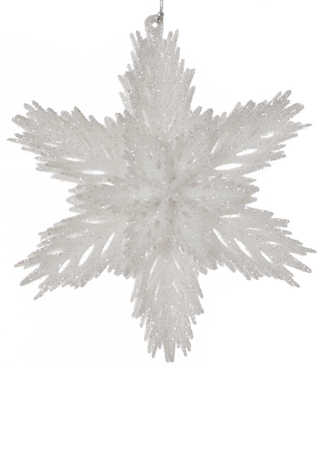 Festive Medium Glitter Star Tree Decoration, White