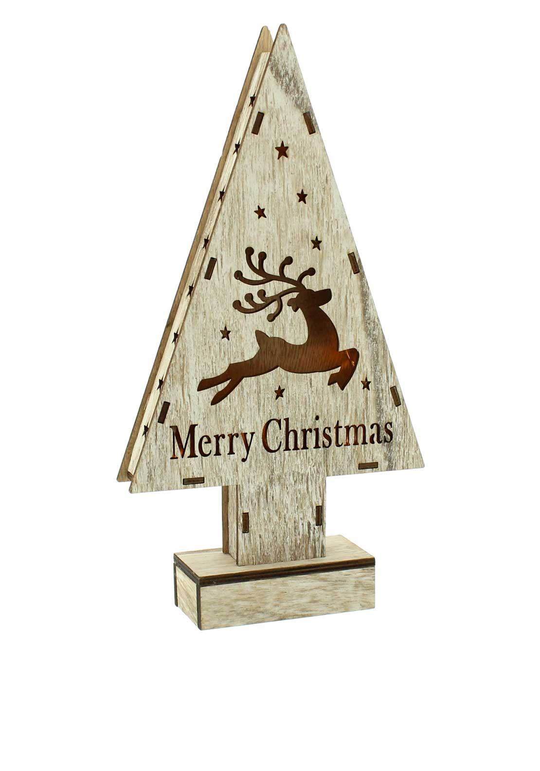 Festive Lit Wooden Star Reindeer Decoration