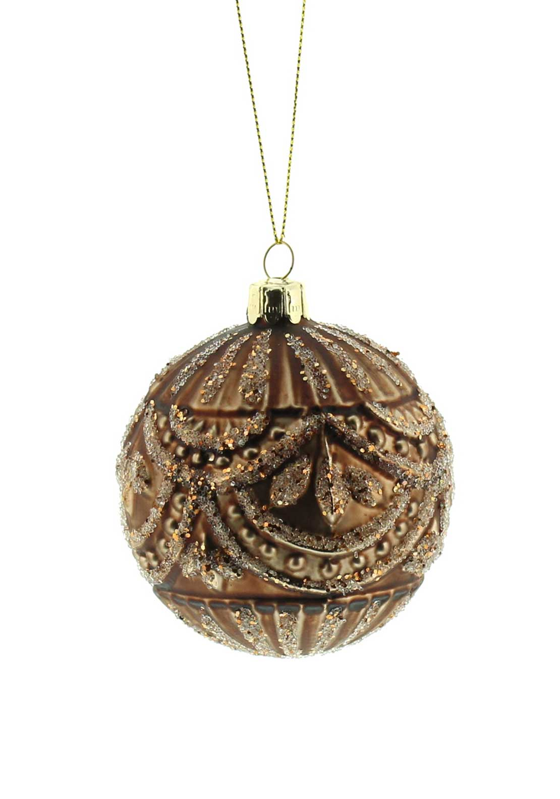 Festive Medium Glitter Bauble, Bronze
