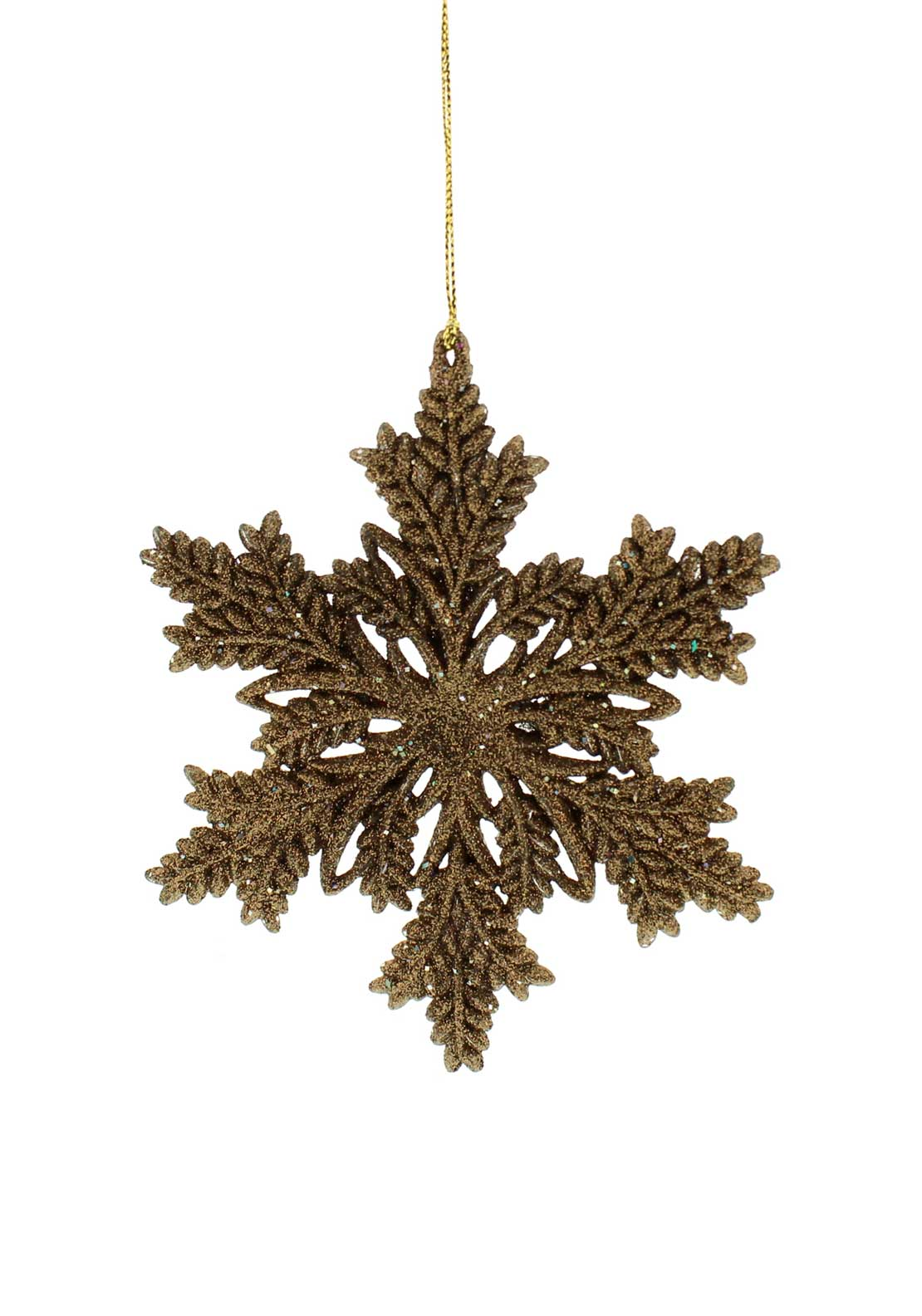 Festive Glitter Snowflake Tree Decoration, Bronze