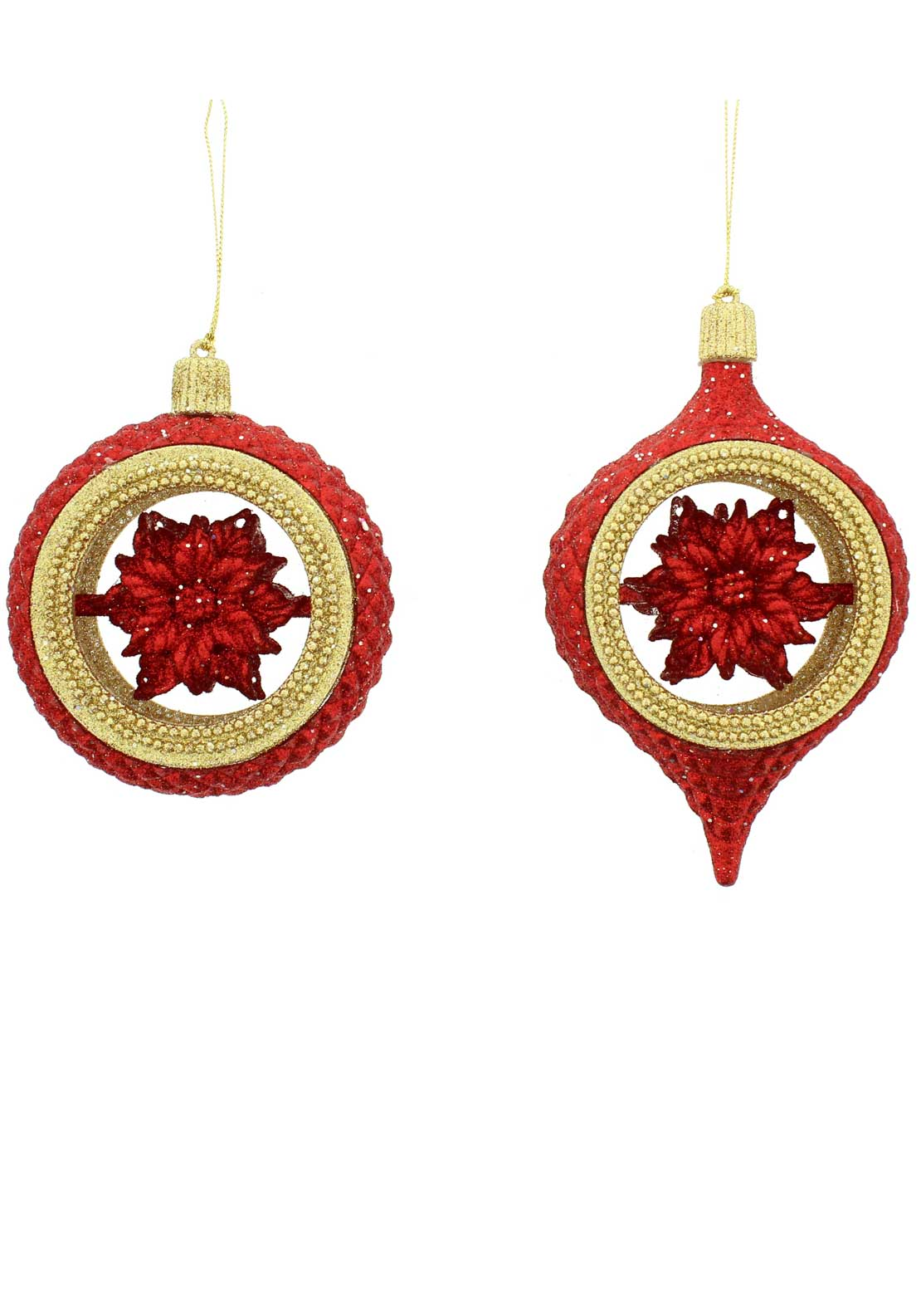Festive Twin Pack Large Glitter Tree Decoration, Red and Gold
