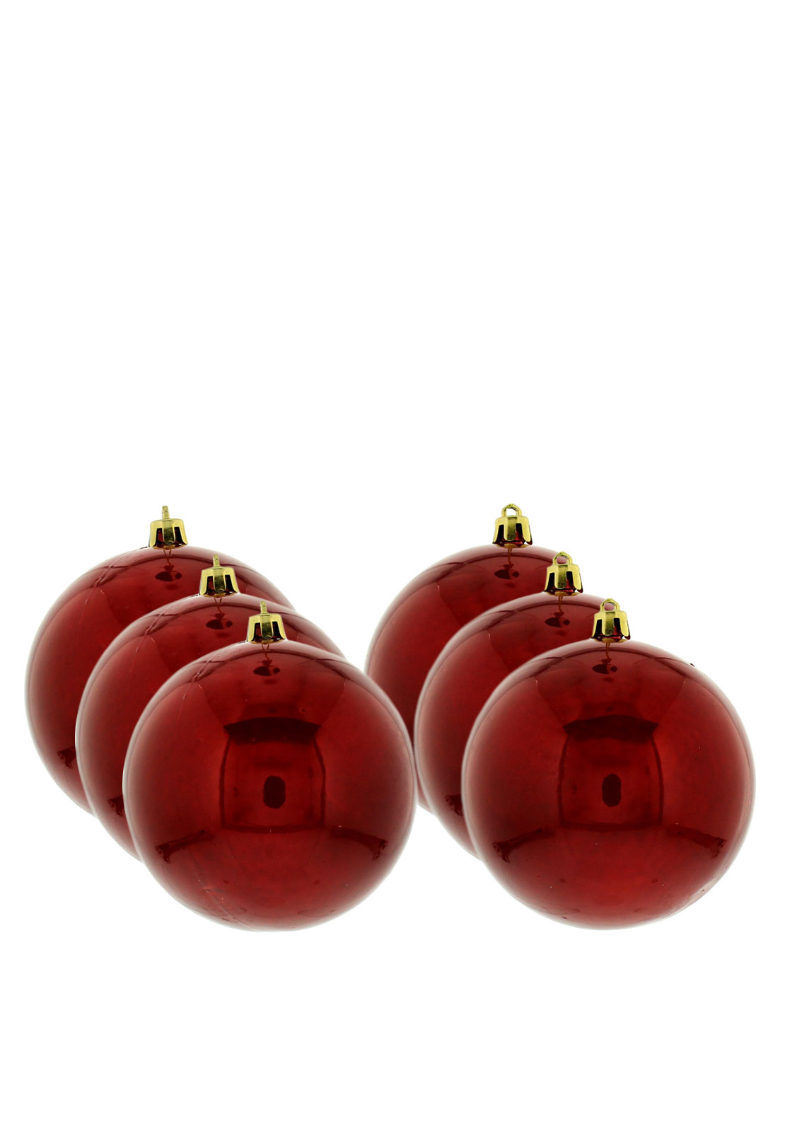 Festive Pack of 6 Large Baubles, Red