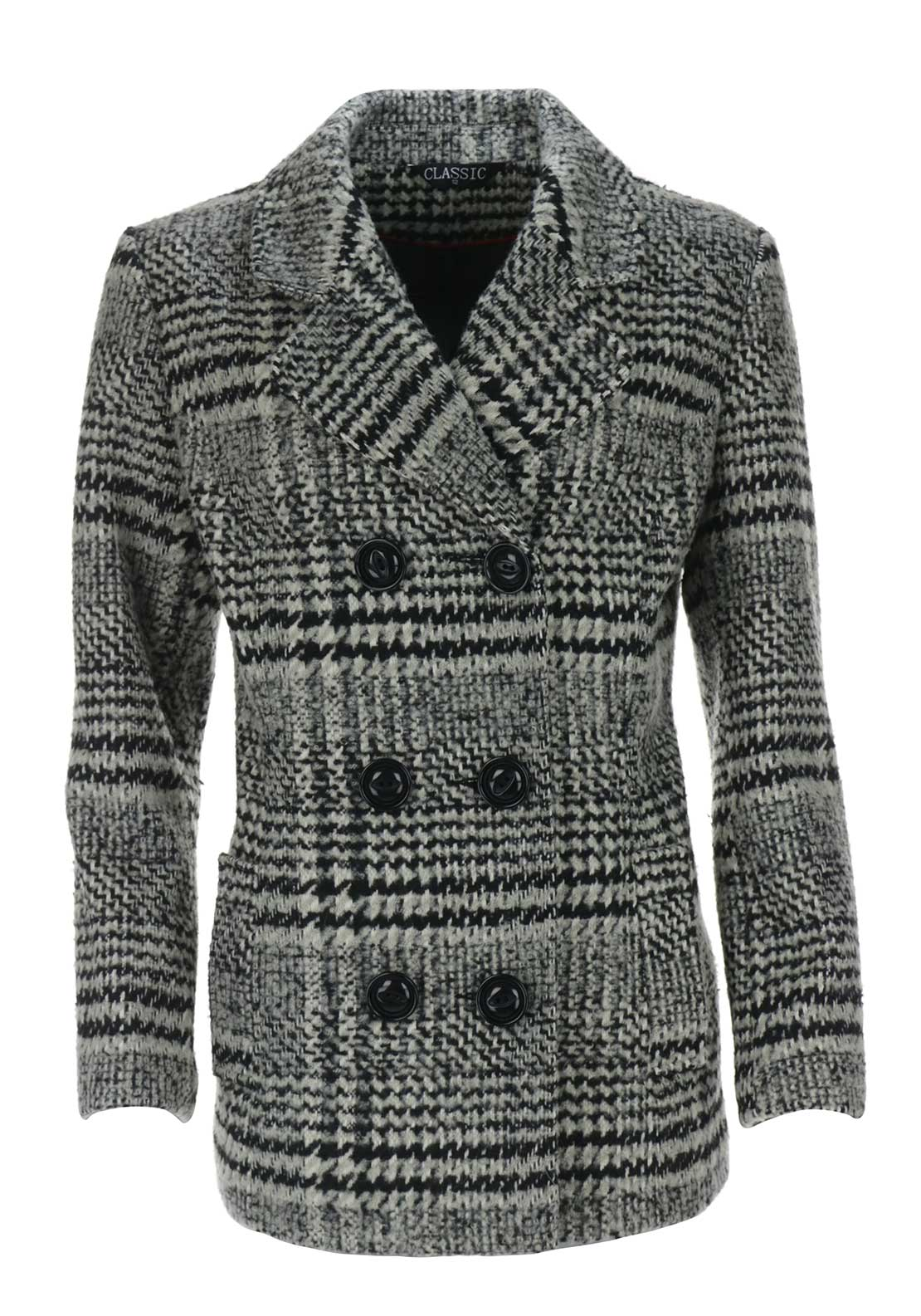 Boutique Collection Tweed Print Pea Coat, Black Multi
