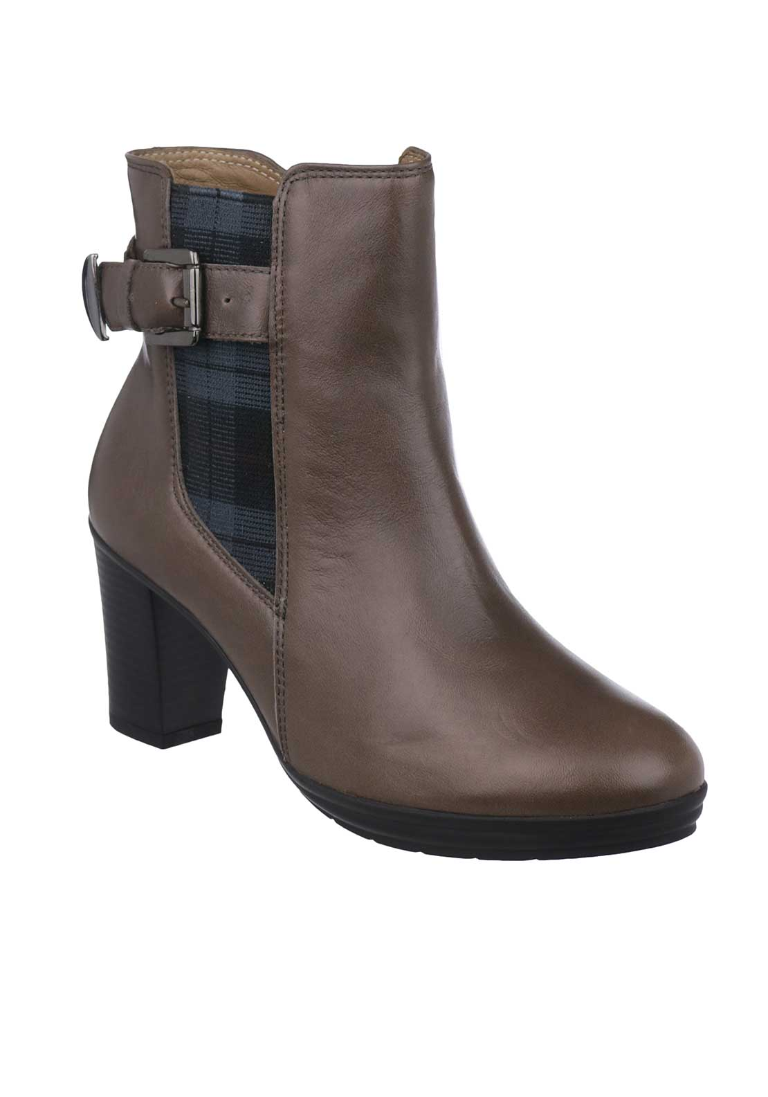 Flex & Go Berenice Leather Heeled Ankle Boots, Grey