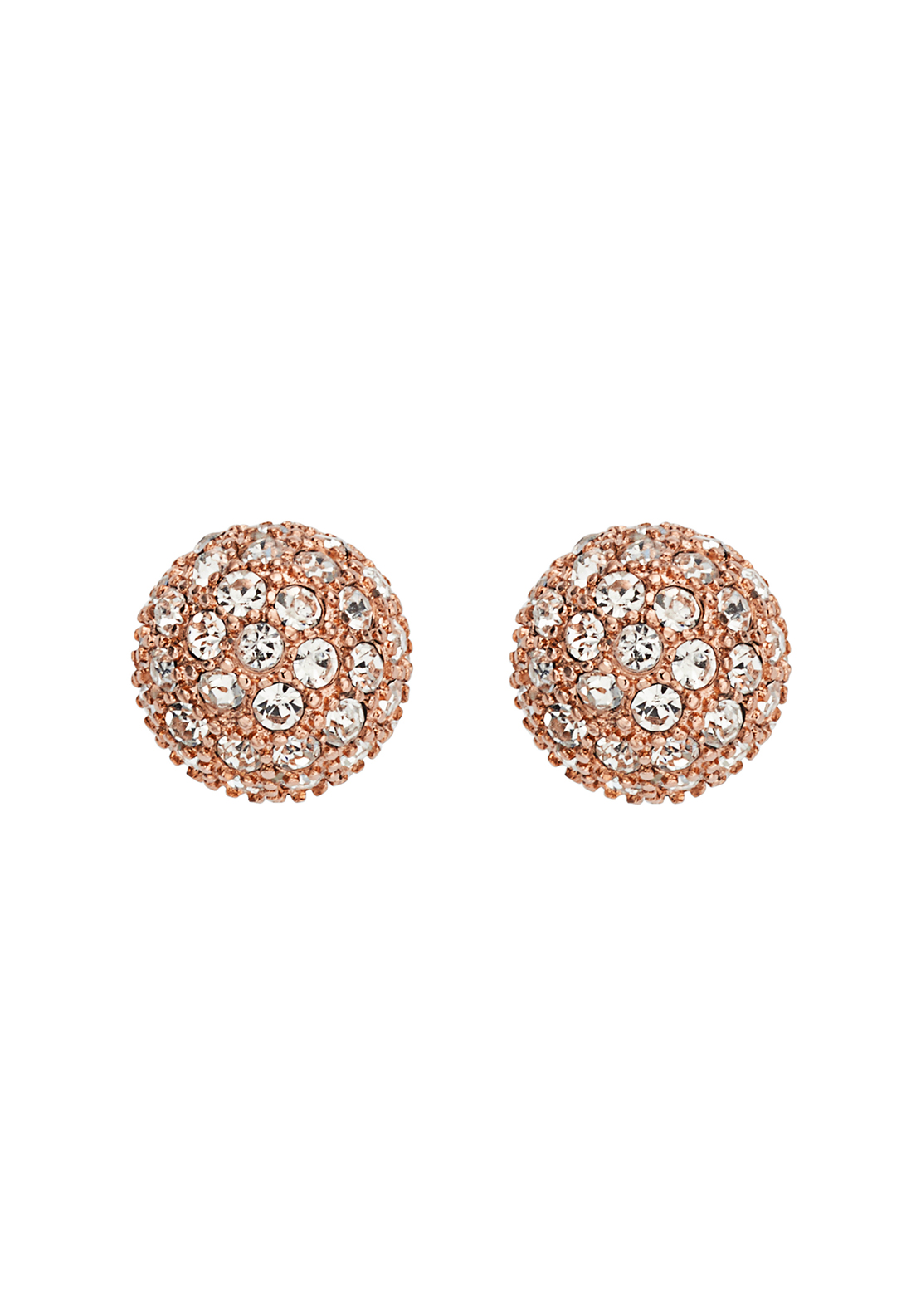 Fossil Crystal Ball Stud Earrings, Rose Gold
