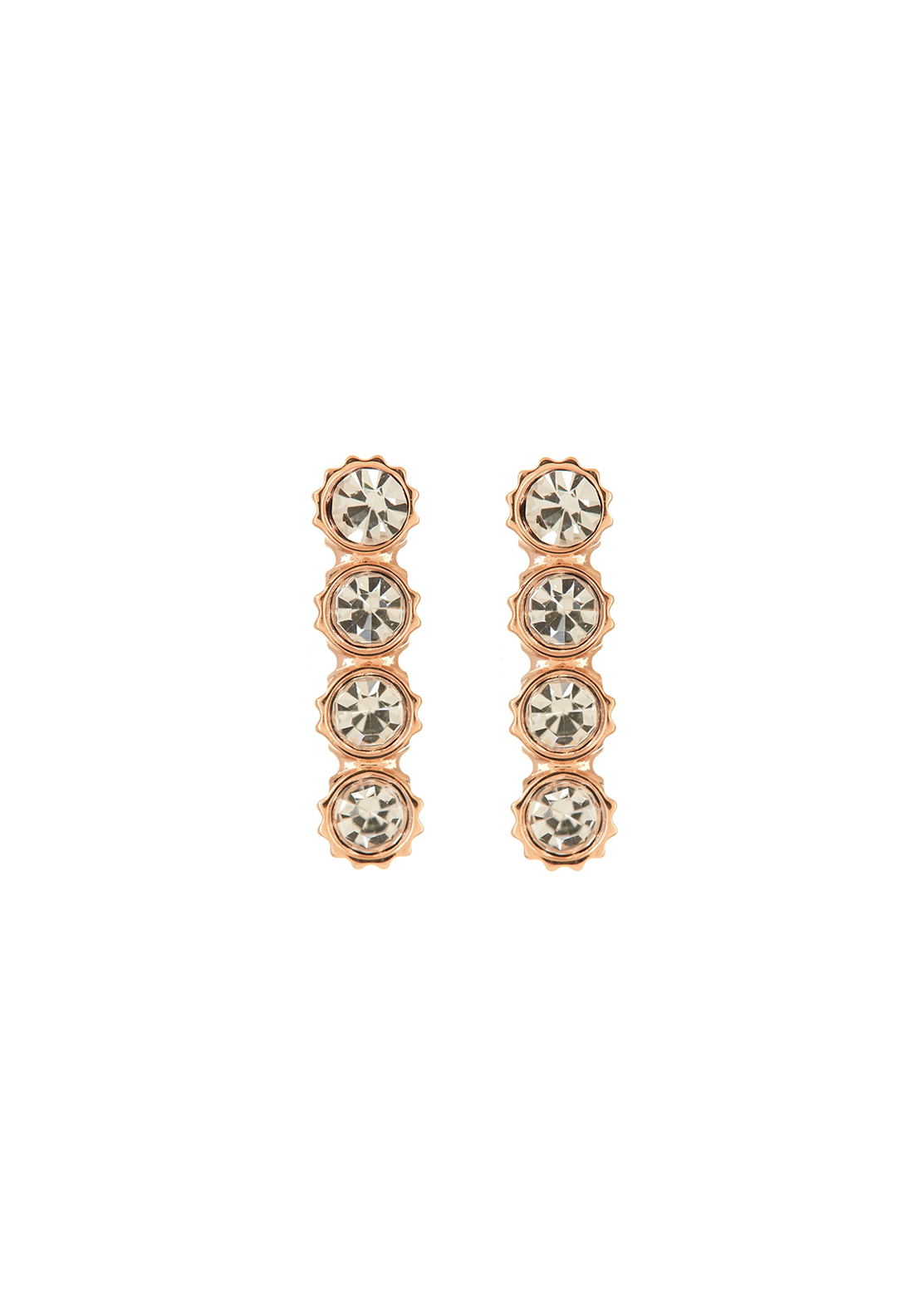 Fossil Coin Edge Earrings, Rose Gold