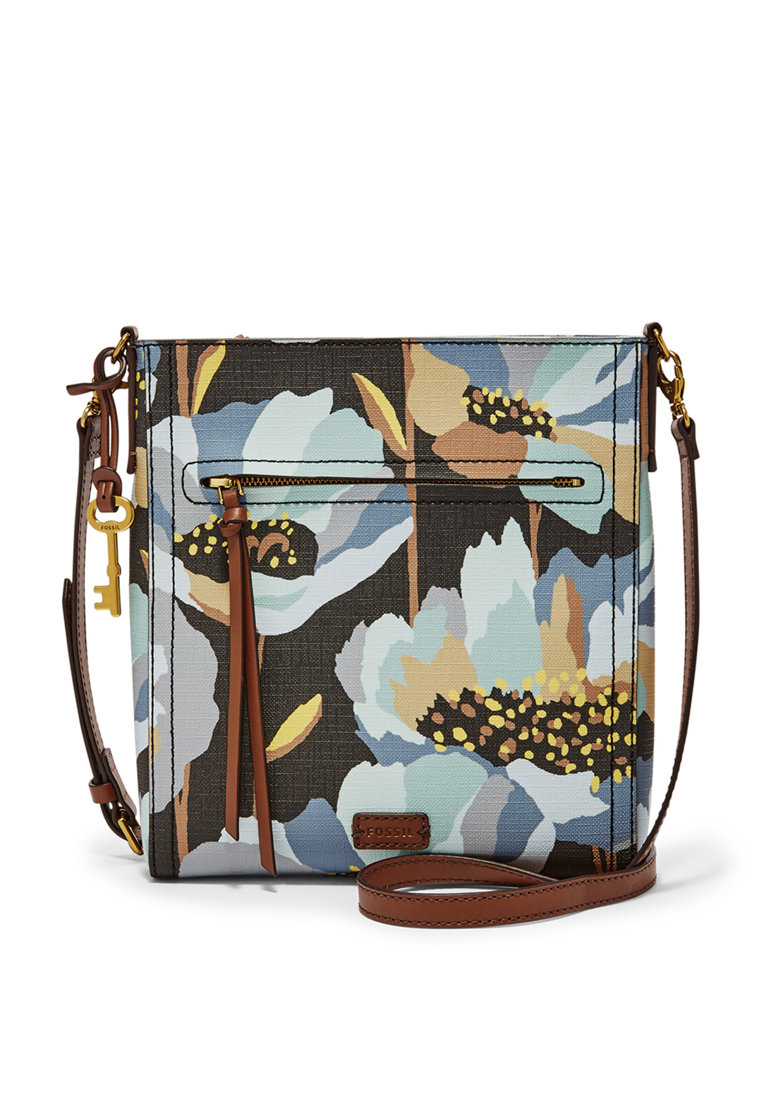 Fossil Emma Floral Print Faux Leather Crossbody Bag, Dark Floral