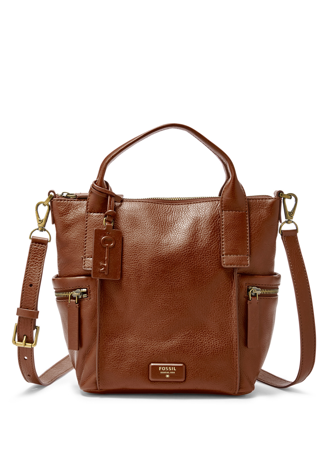 Fossil Emerson Medium Leather Satchel Bag, Brown