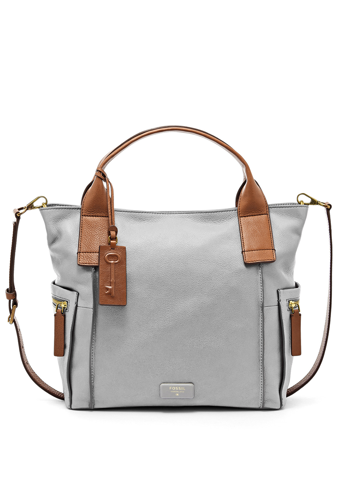 Fossil Emerson Leather Satchel Bag, Iron
