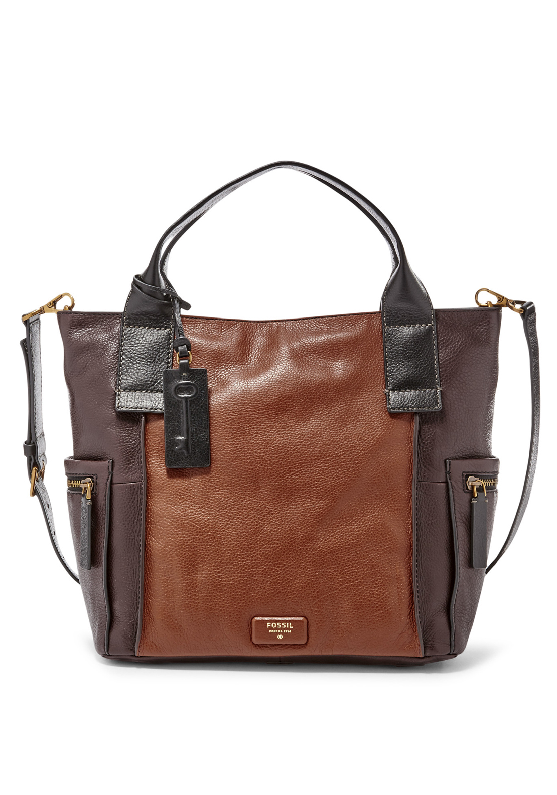 Fossil Emerson Colour Block Leather Satchel Bag, Brown