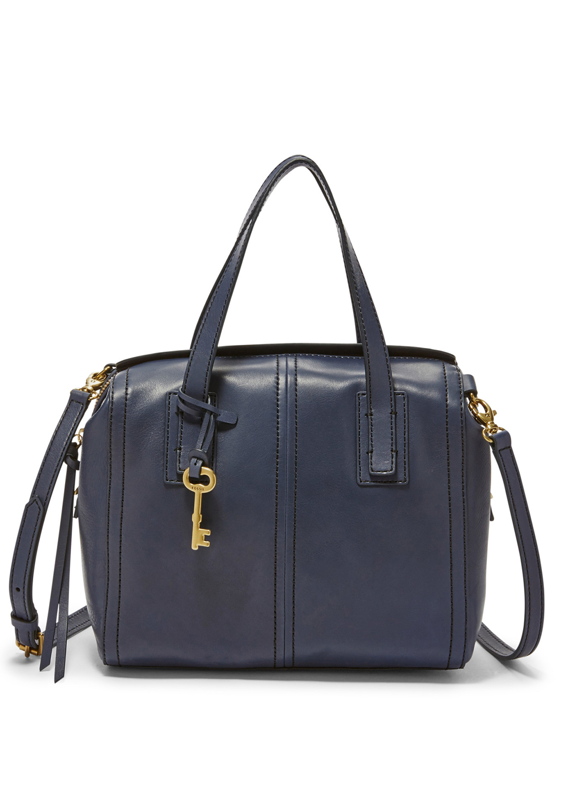 Fossil Emma Leather Satchel Grab Bag, Midnight Navy