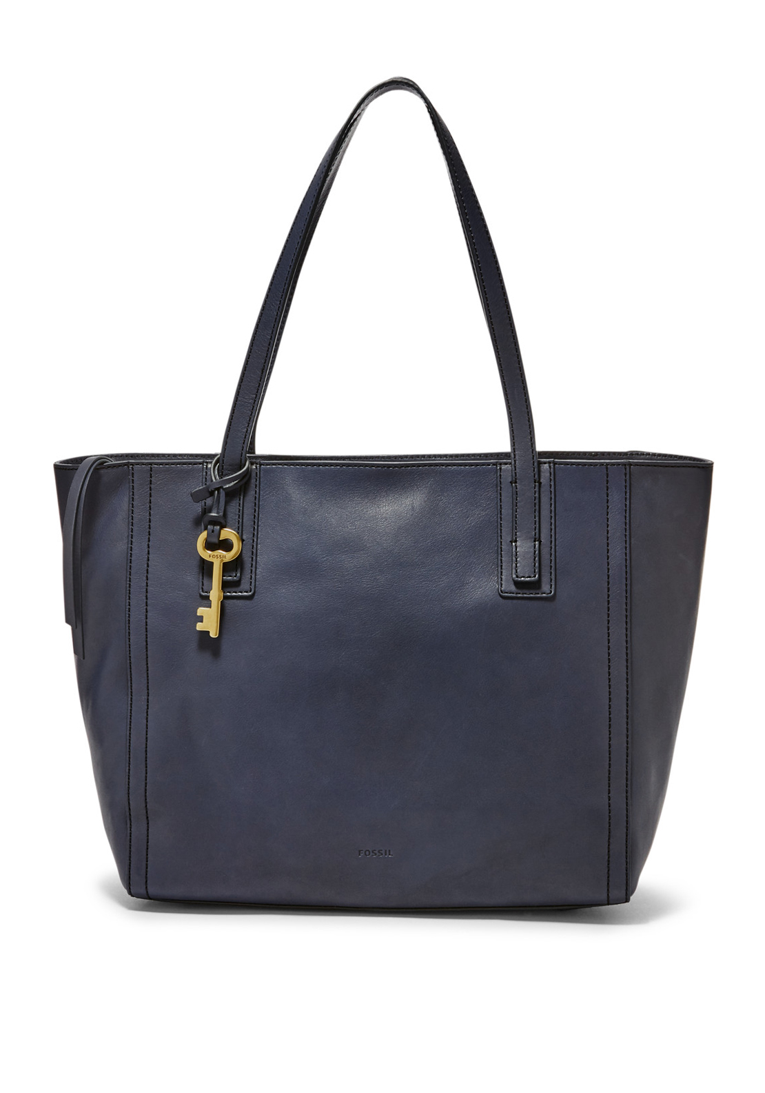 Fossil Emma Leather Tote Bag, Midnight Navy