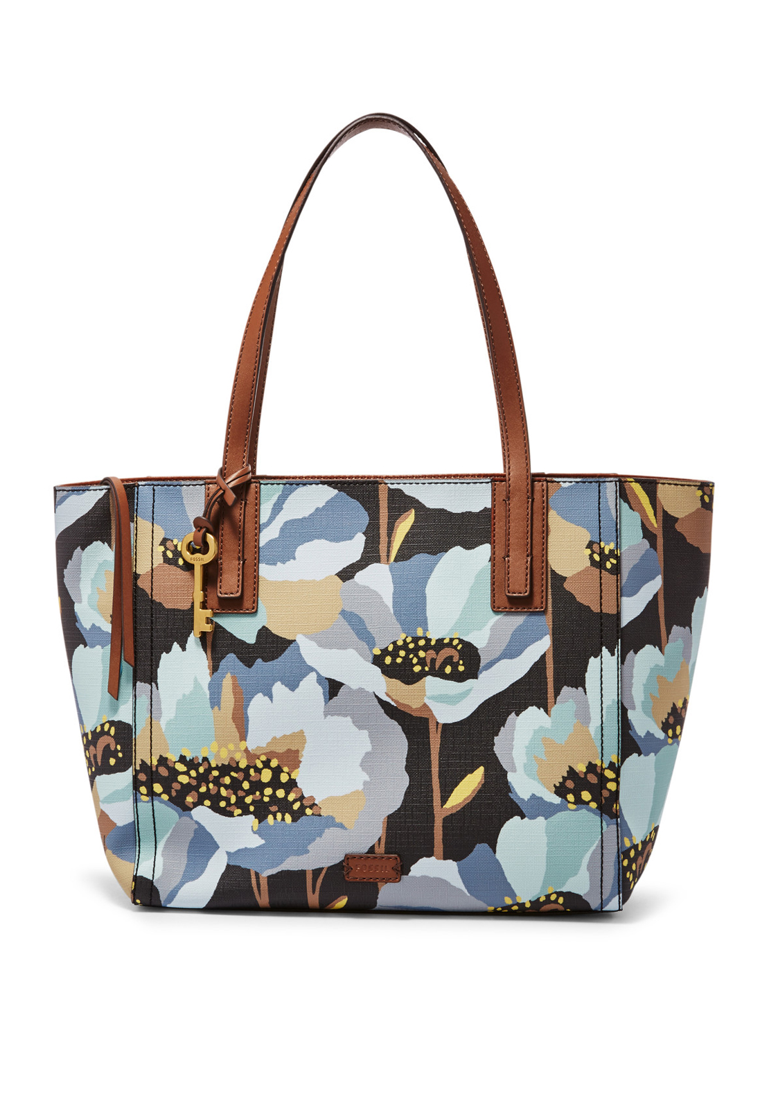 Fossil Emma Floral Print Faux Leather Tote Bag, Dark Floral