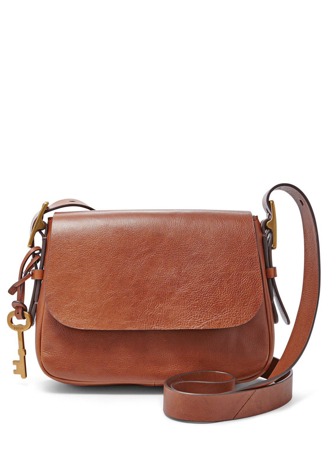 Fossil Preston Harper Small Leather Saddle Crossbody Bag, Brown