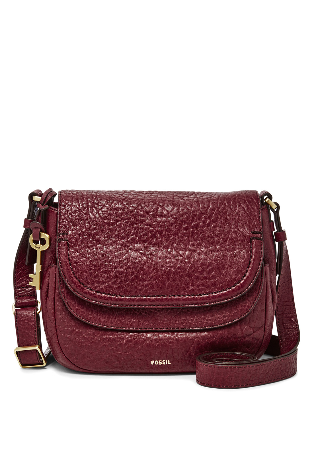 Fossil Peyton Pebbled Leather Double Flap Crossbody Bag, Wine