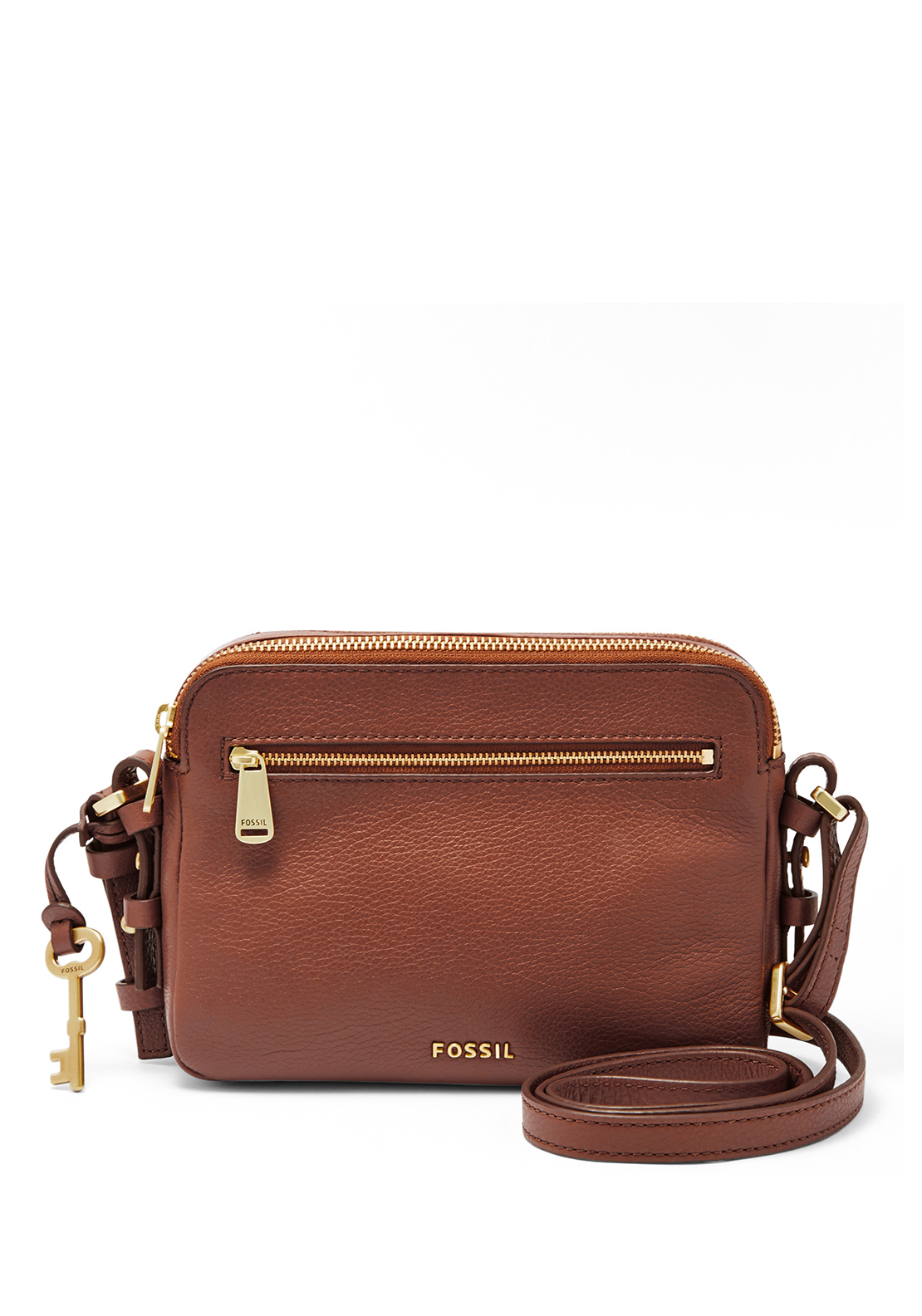Fossil Piper Pebble Leather Toaster Crossbody Bag, Brown