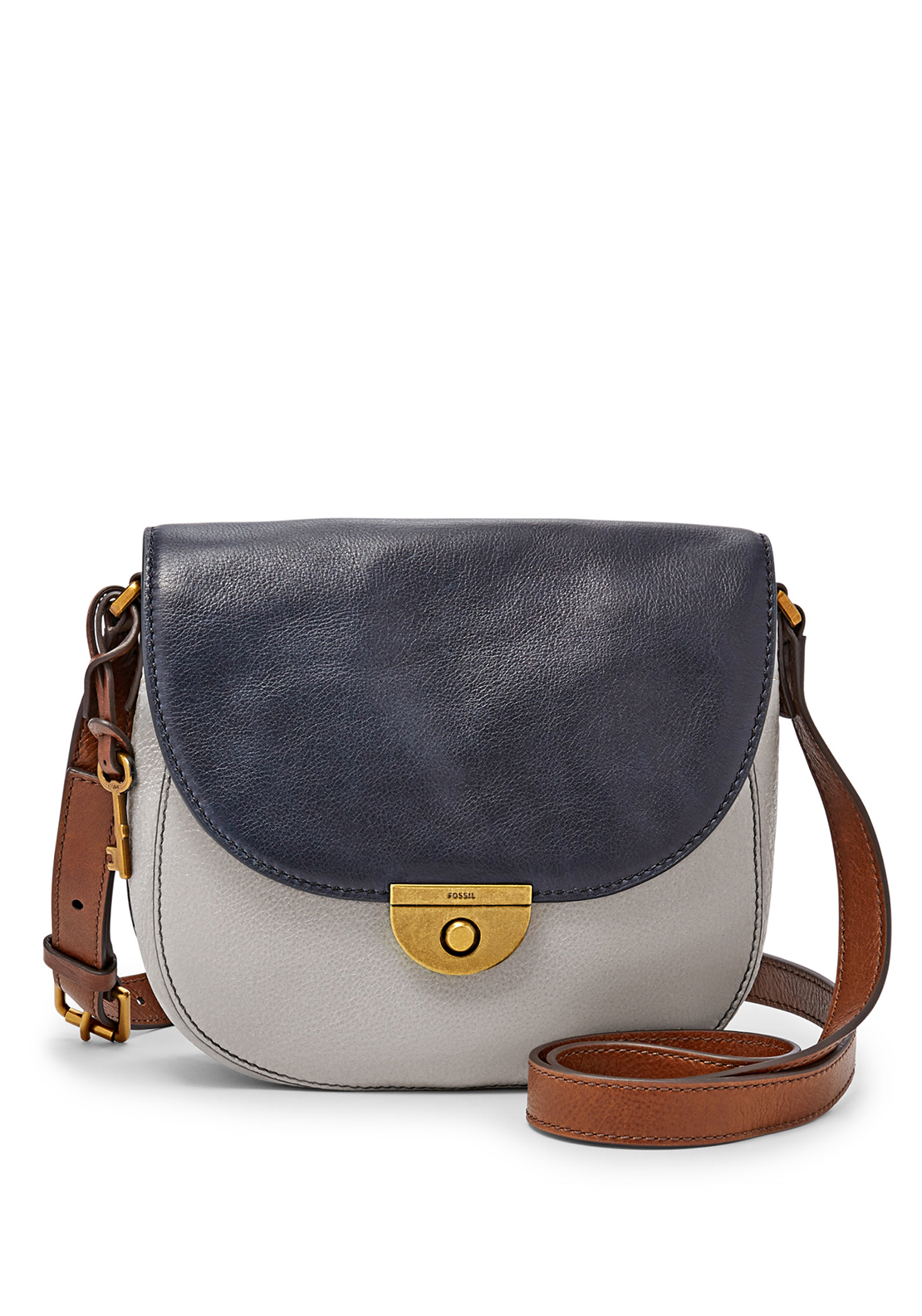 Fossil Emi Leather Saddle Crossbody Bag, Iron