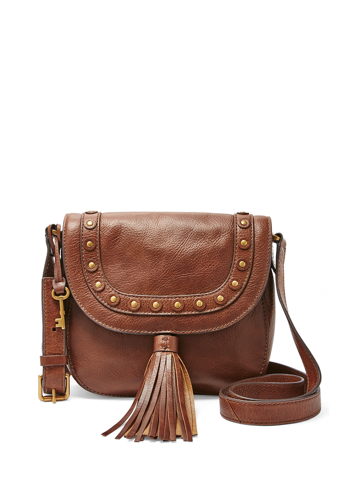 Fossil Emi Tassel Leather Saddle Crossbody Bag, Brown