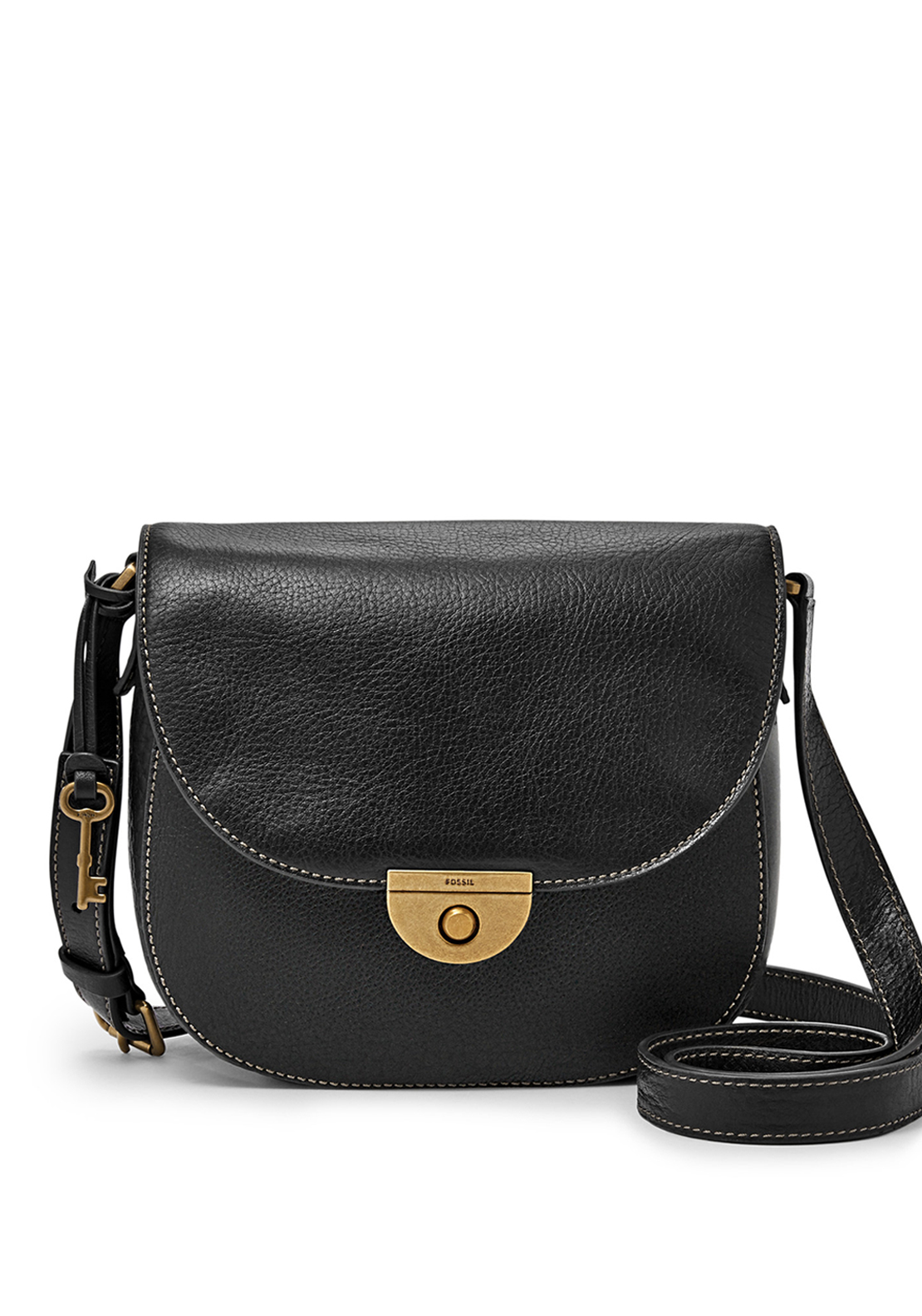 Fossil Emi Leather Saddle Crossbody Bag, Black