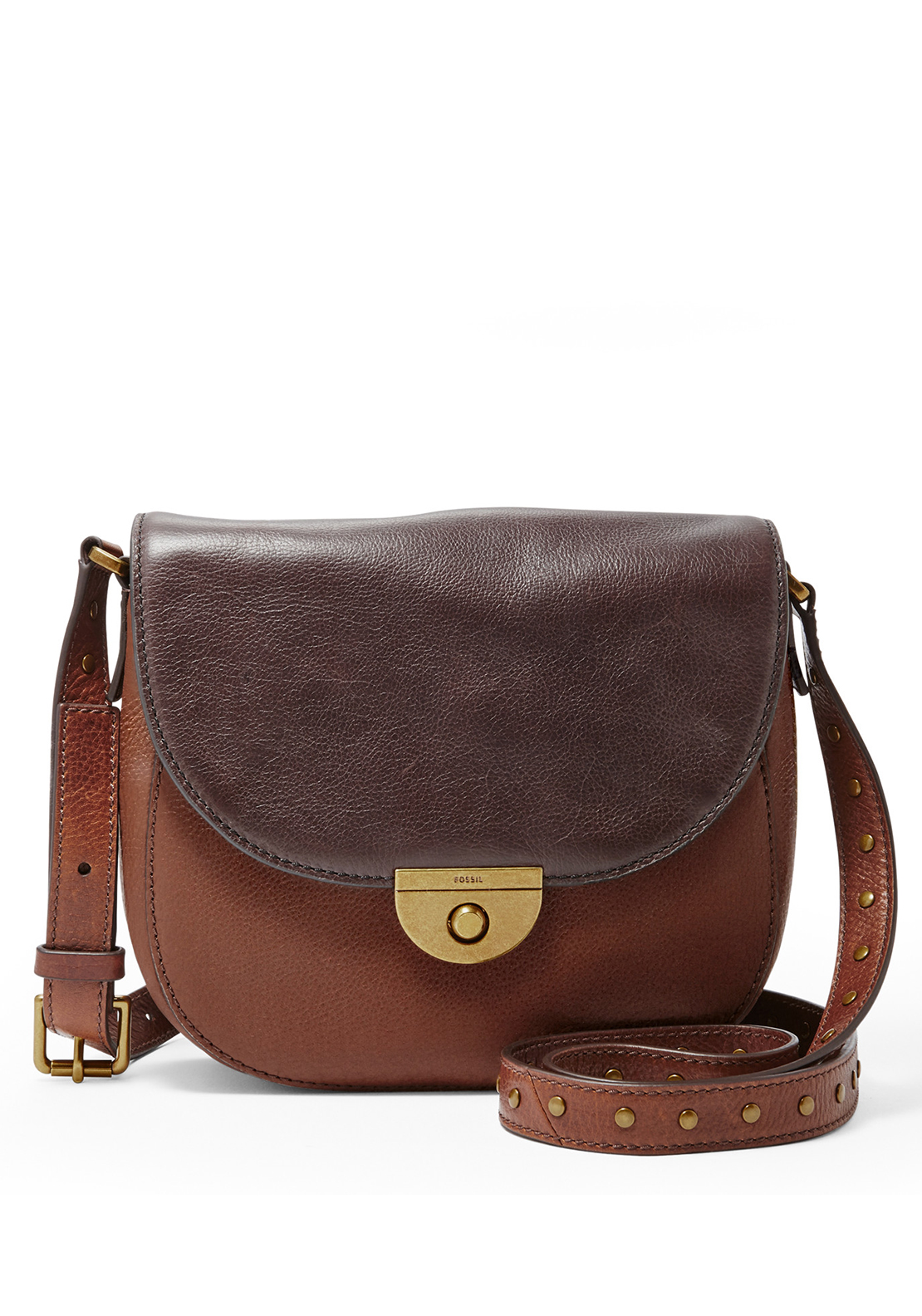 Fossil Emi Leather Saddle Crossbody Bag, Brown