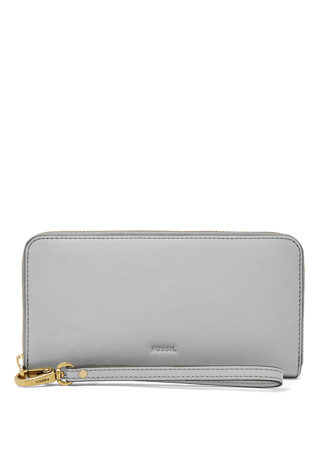 Fossil Emma Leather Zip Around Wristlet Purse, Iron
