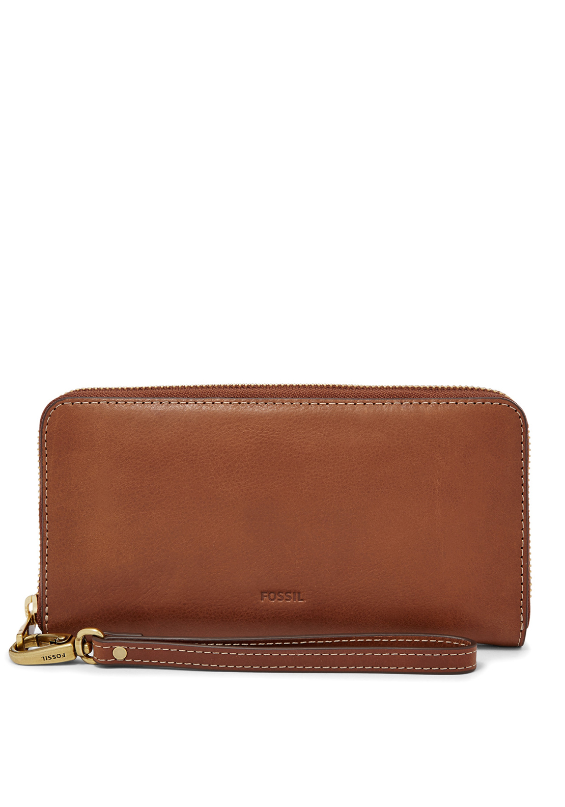 Fossil Emma Large Leather Zip Around Purse, Brown