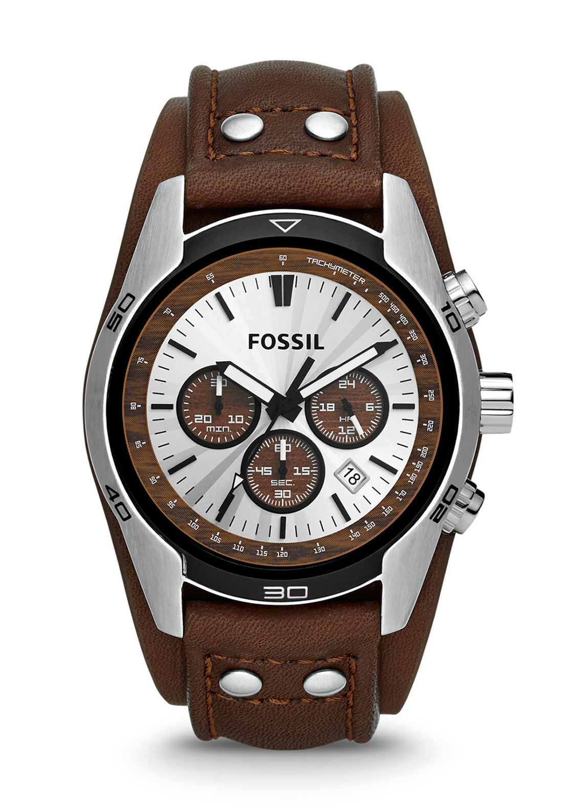 Fossil Mens Coachman Chronograph Leather Strap Watch, Brown